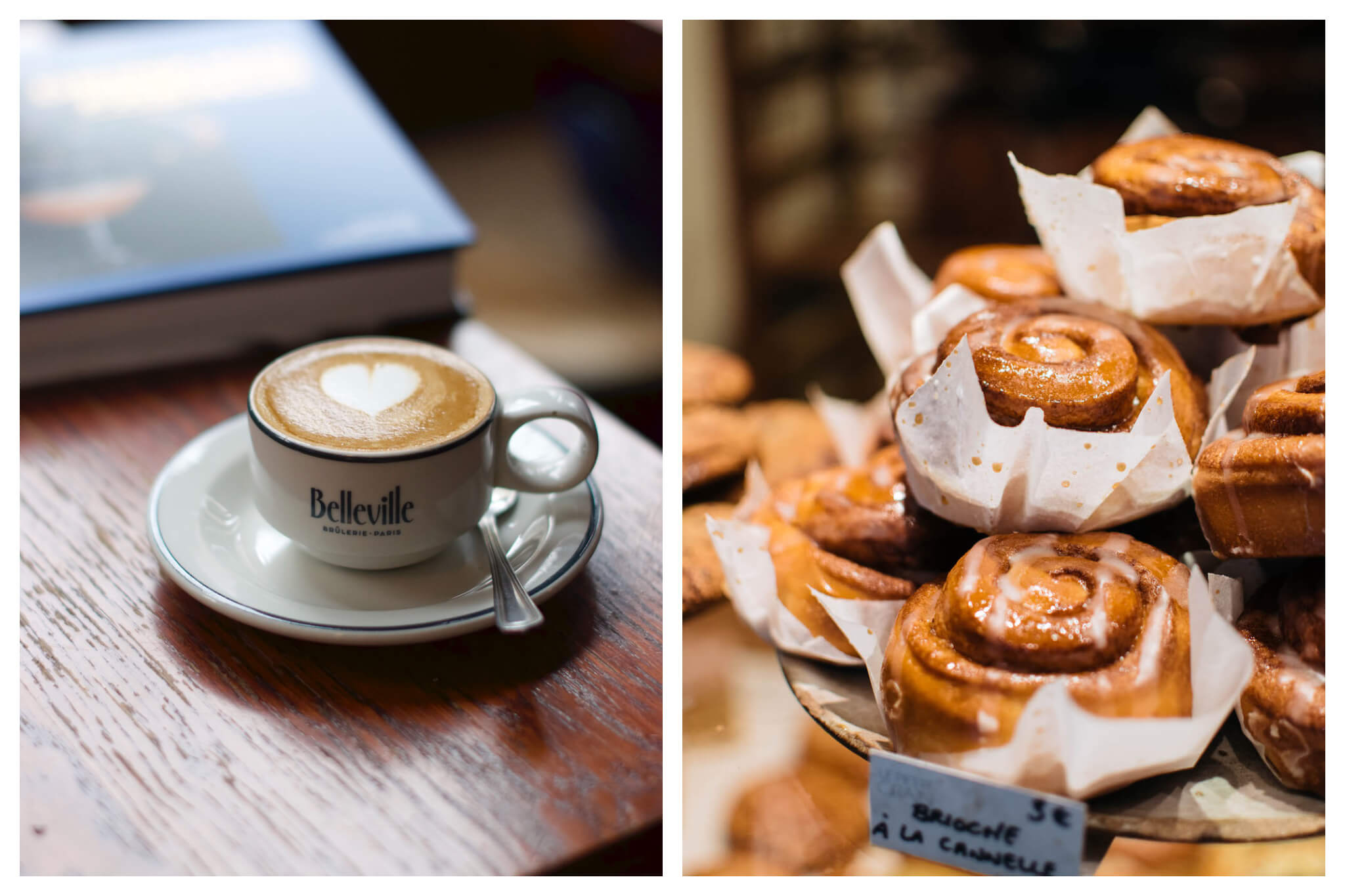 Left, a cup of frothy coffee on the wooden counter of La Fontaine de Belleville in Paris. Right, sticky cinnamon rolls stacked on the counter of a bakery in Paris.