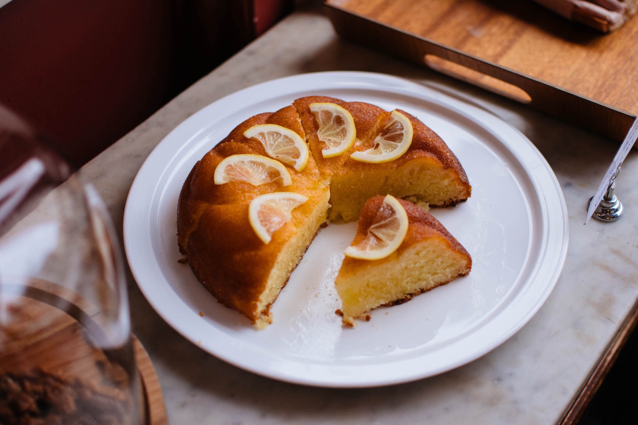 Spongy lemon cake at Fontaine de Bellville café, located in the 10th arrondissement of Paris.