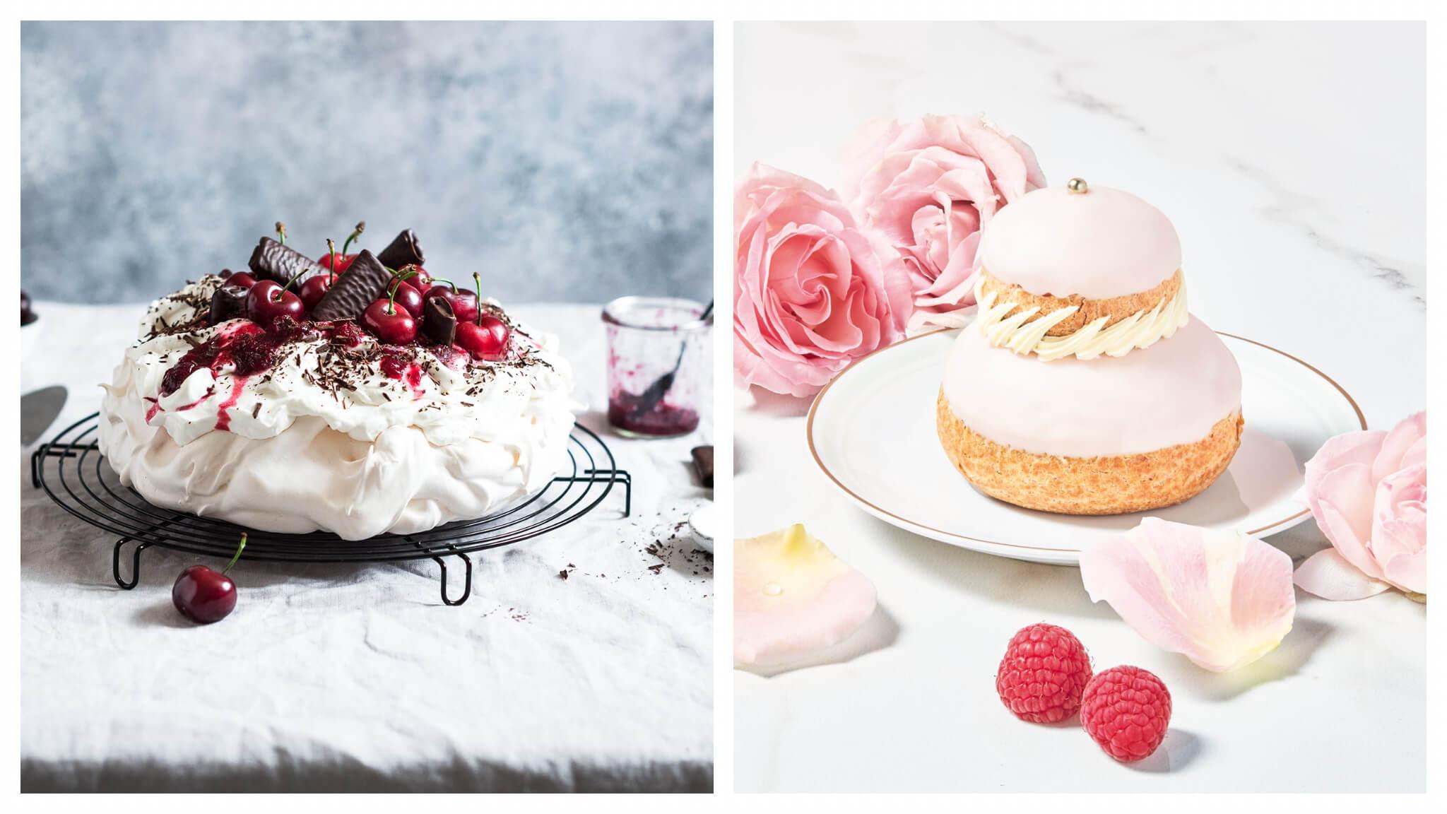 Left: Biscuits Gavotte's pavlova façon forêt noire aux Crêpes Dentelle chocolat noir Right: Ladurée's raspberry rose religieuse