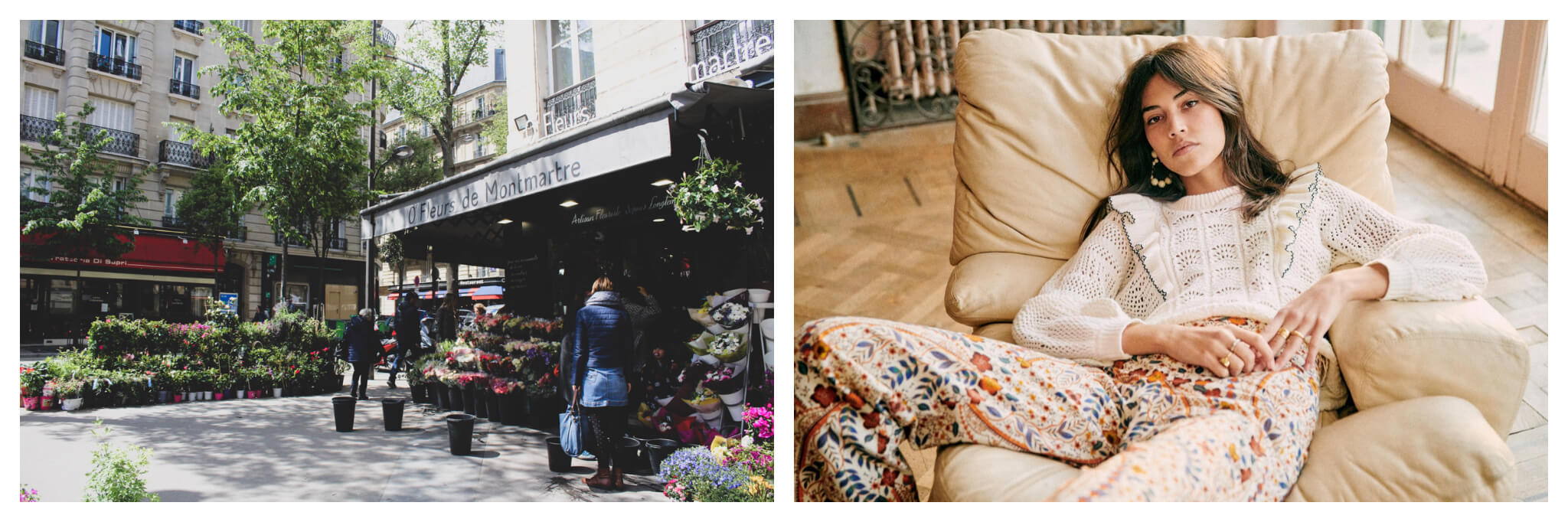 Left, flower shop in Paris springtime. Right, a girl sprawled in a leather armchair wearing  Sézane outfit in Paris.