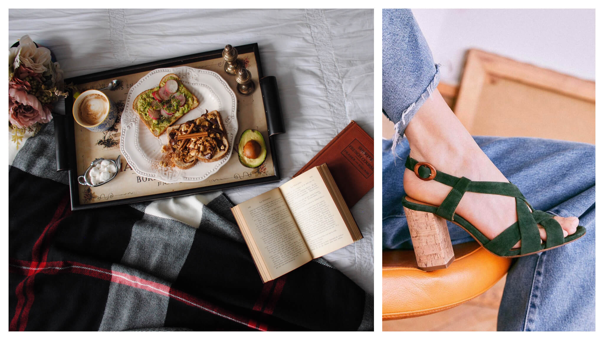 Left, a tray with a hearty breakfast and an open book, the perfect way to enjoy a day of confinement. Right, a pair of Sézane green velvet and cork-heel shoes to shop to remind you of Paris without leaving home.