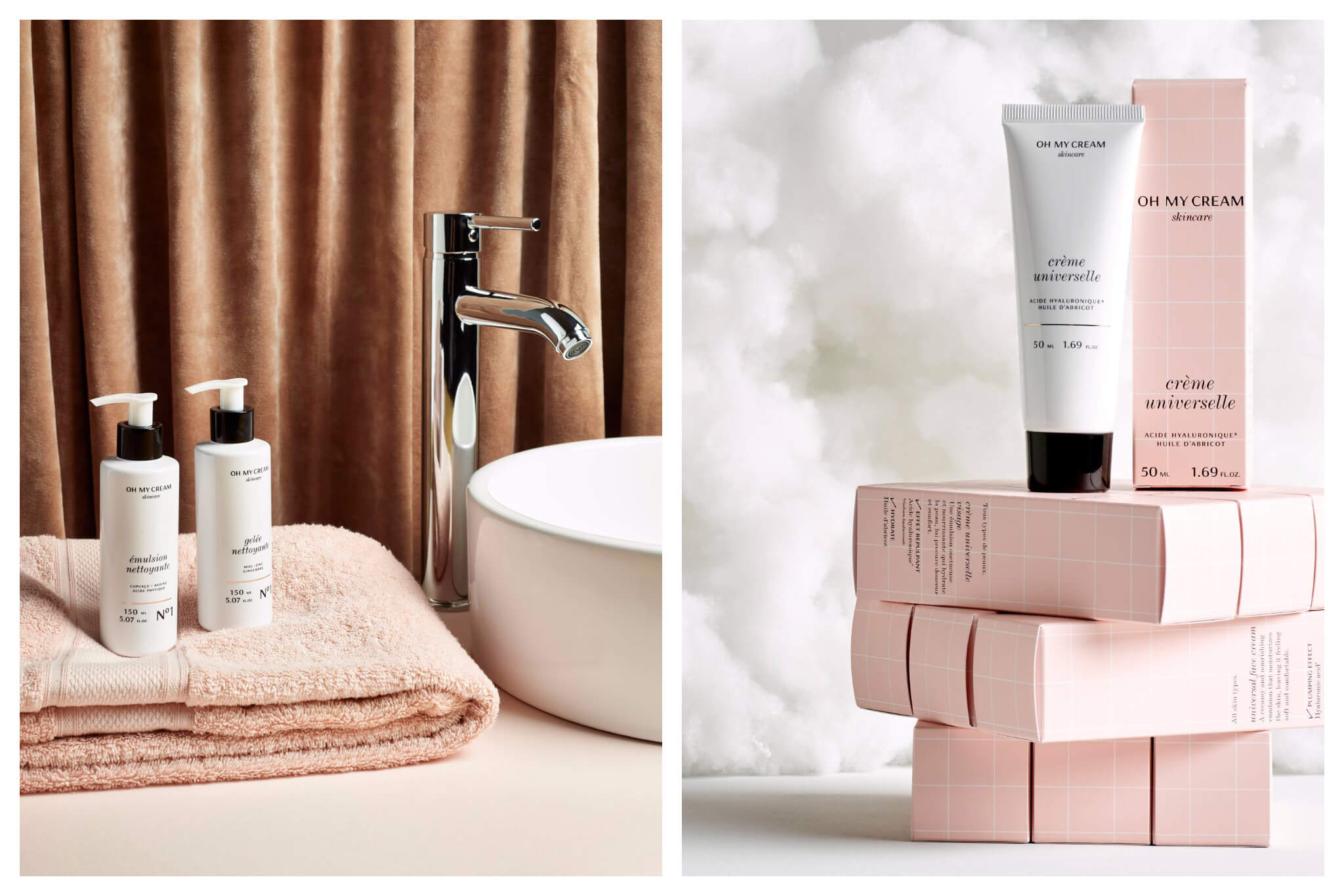 Left, two bottles of cream on a towel in a bathroom from Oh My Cream! brand in Paris. Right, stacked pink and while creams by Parisian brand to shop from home.