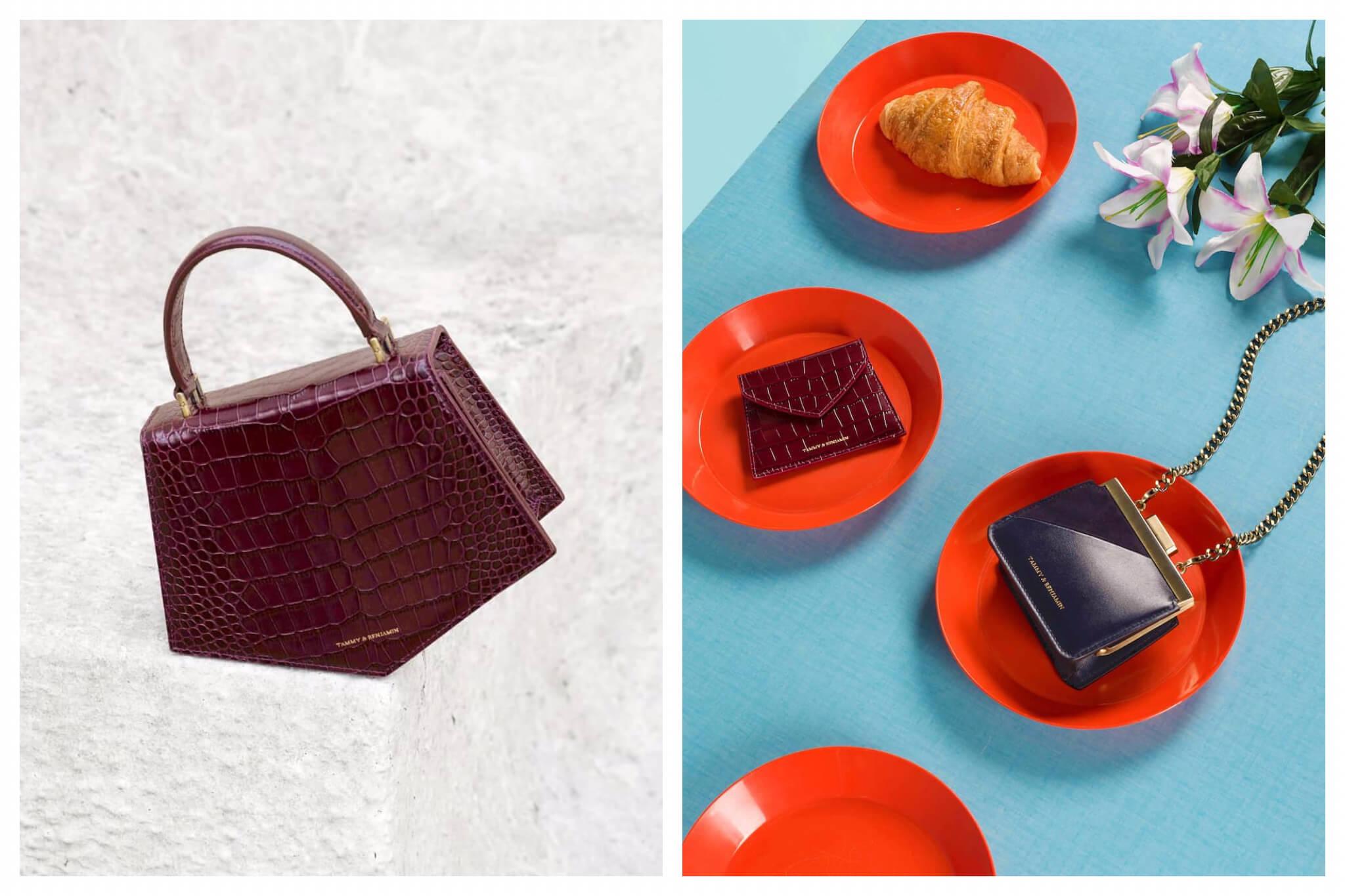 Left and right, how to enjoy Paris without traveling to the city includes shopping for Parisian style online like these dark red snakeskin handbags.