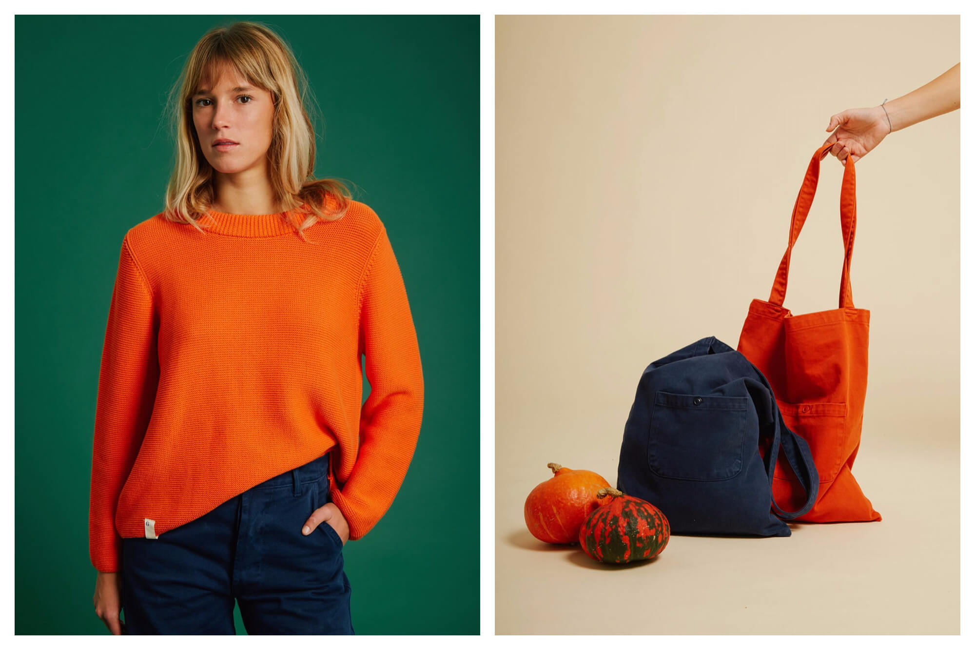 Left: a blonde woman wearing a bright orange knit jumper and navy blue pants. She has one hand in her pocket. Right: two bags, one bright orange and one navy blue, with a hand holding onto the strap of the orange one. There are also two orange pumpkins next to them.