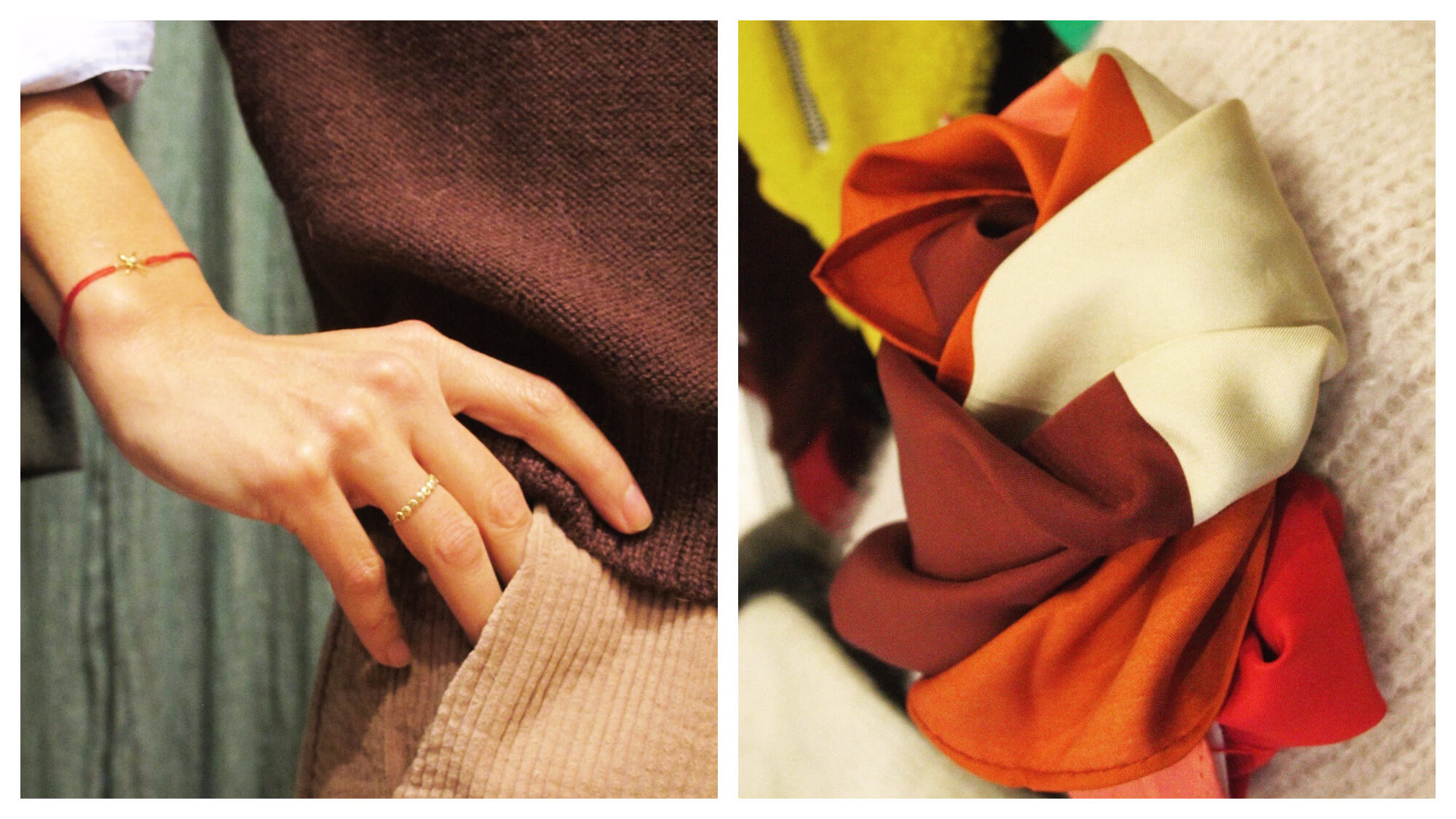 Left: a close up of a woman's hand on her hip. She's wearing a delicate gold ring on one finger and a string bracelet with a gold pendant. She's wearing a pale blue shirt with the sleeve rolled up, a brown knit jumper and camel corduroy pants. Right: a close up of a brown, orange, red and cream scarf knotted and sitting on a cream knit.