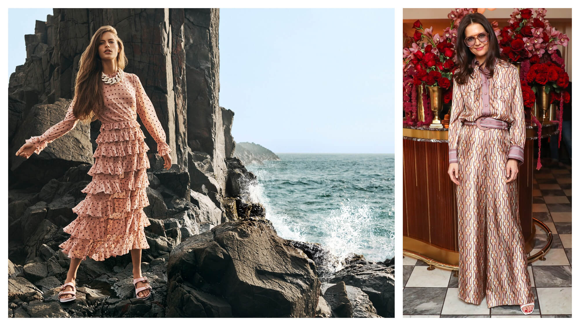 Left: a woman on rocks near the ocean wearing a long, frilly pale pink dress with black polka dots. Right: Katie Holmes in front of a bar covered with vases of flowers wearing a patterned shirt and matching pants.