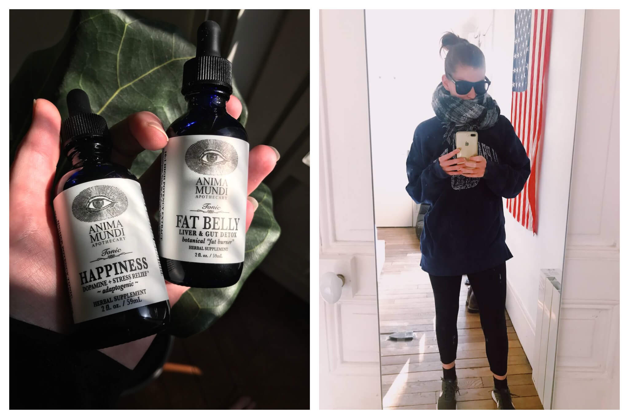 Left: Herbal supplements are held in a ray of sunlight inside an apartment. Right: Erin takes a selfie in the mirror of her apartment.
