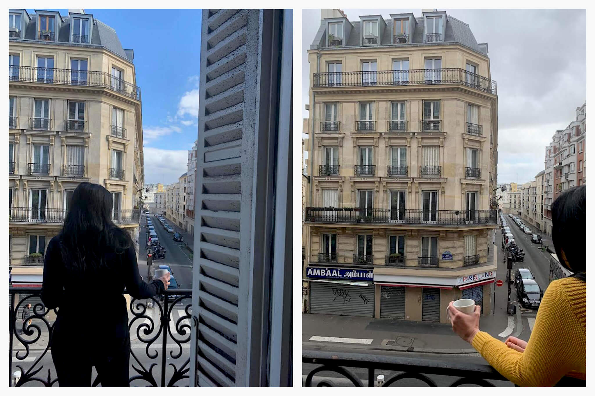 Marissa stands at the balcony of her apartment, gazing out at the empty Paris streets.