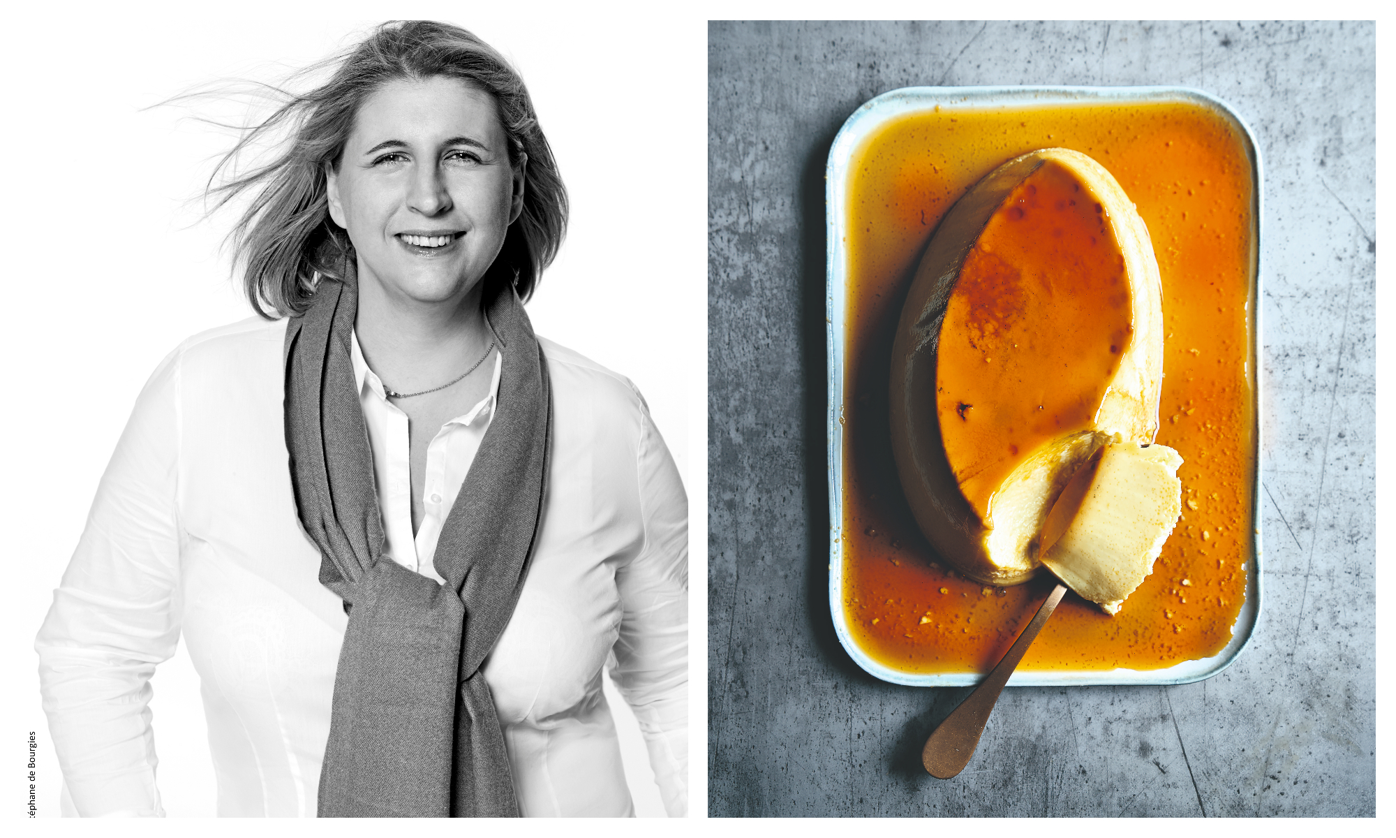 Left, a black and white portrait of 2-star chef Stéphanie Le Quellec. Right, a dish with unctuous crème caramel dessert covered in caramel with a spoon dug into into it.