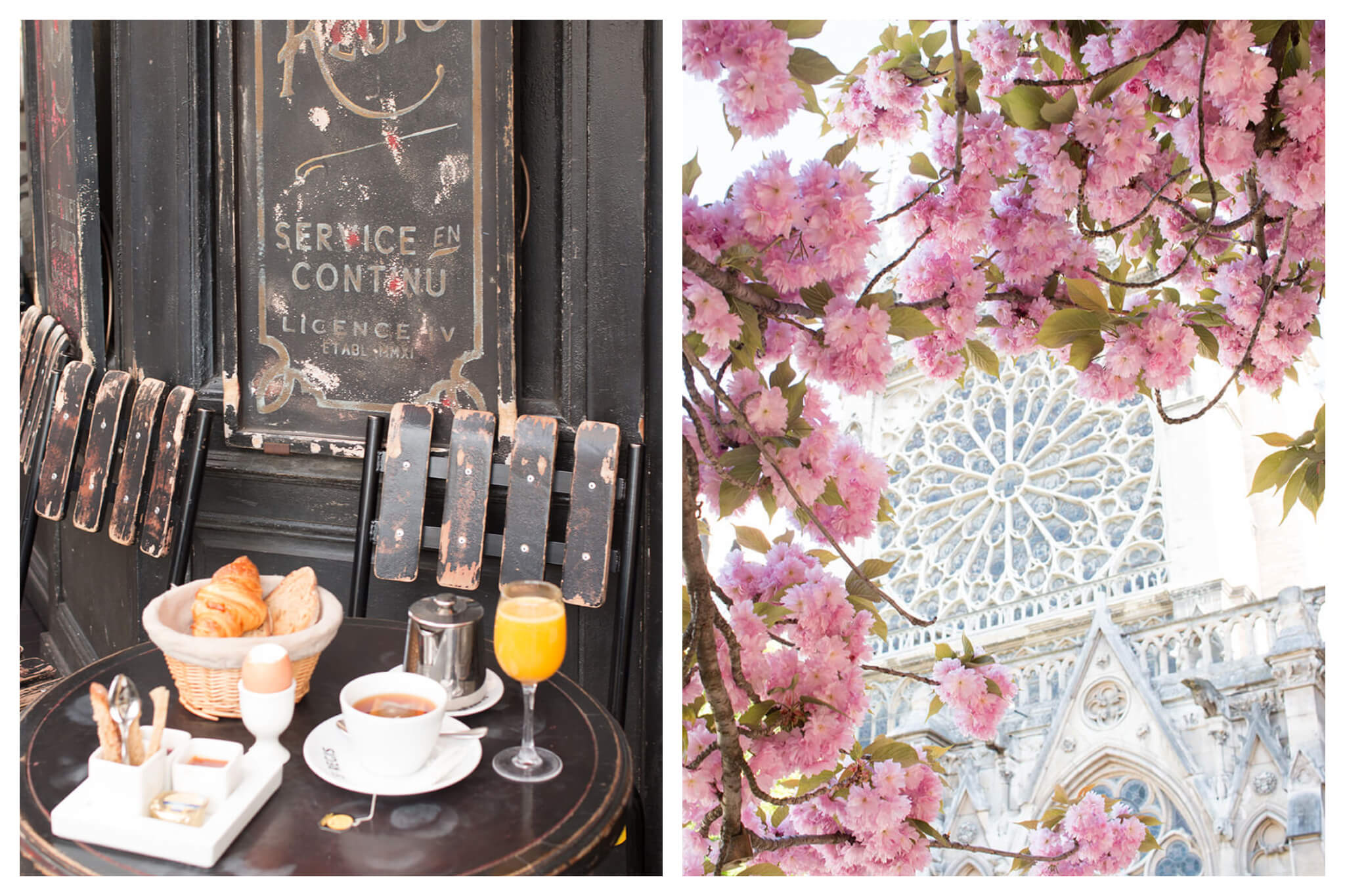 On left: A french breakfast on the terrace of a local café consists of warm, flakey croissants in a wicker basket; piping hot tea; freshly-pressed orange juice; and assorted jams. On right: The stained-glass facade of Notre Dame is framed by the iconic pink cherry blossoms that bloom in the adjacent square.