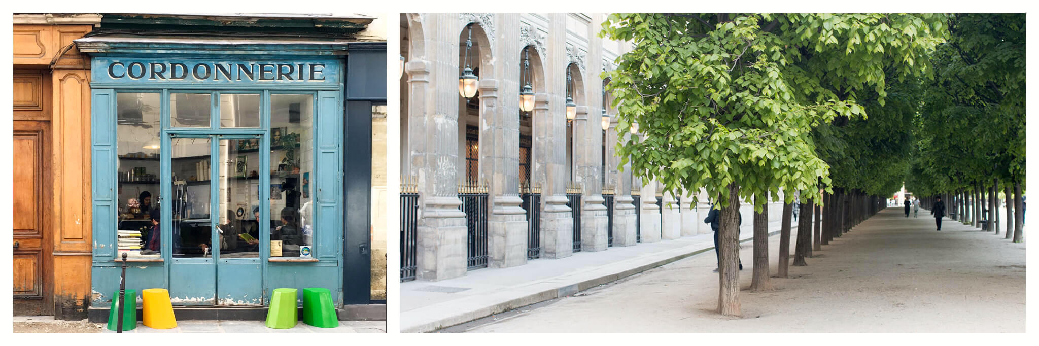 """On left: The iconic facade of the Boot Café, in Paris' 3rd arrondissement, greets customers with its cheery blue  paint and old-fashioned sign, """"Cordonnerie,"""" a nod to the space's history as a cobbler shop. On right: The lush trees of the Palais Royal garden shade those on a stroll."""