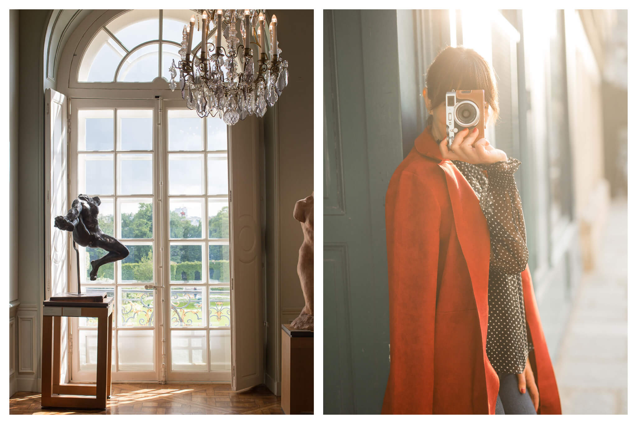 On left: French doors look out onto a sunny afternoon in the garden at the Musée Rodin, in Paris' 7th arrondissement. On right: Rebecca holds up her retro camera for a photograph at golden hour in Paris.