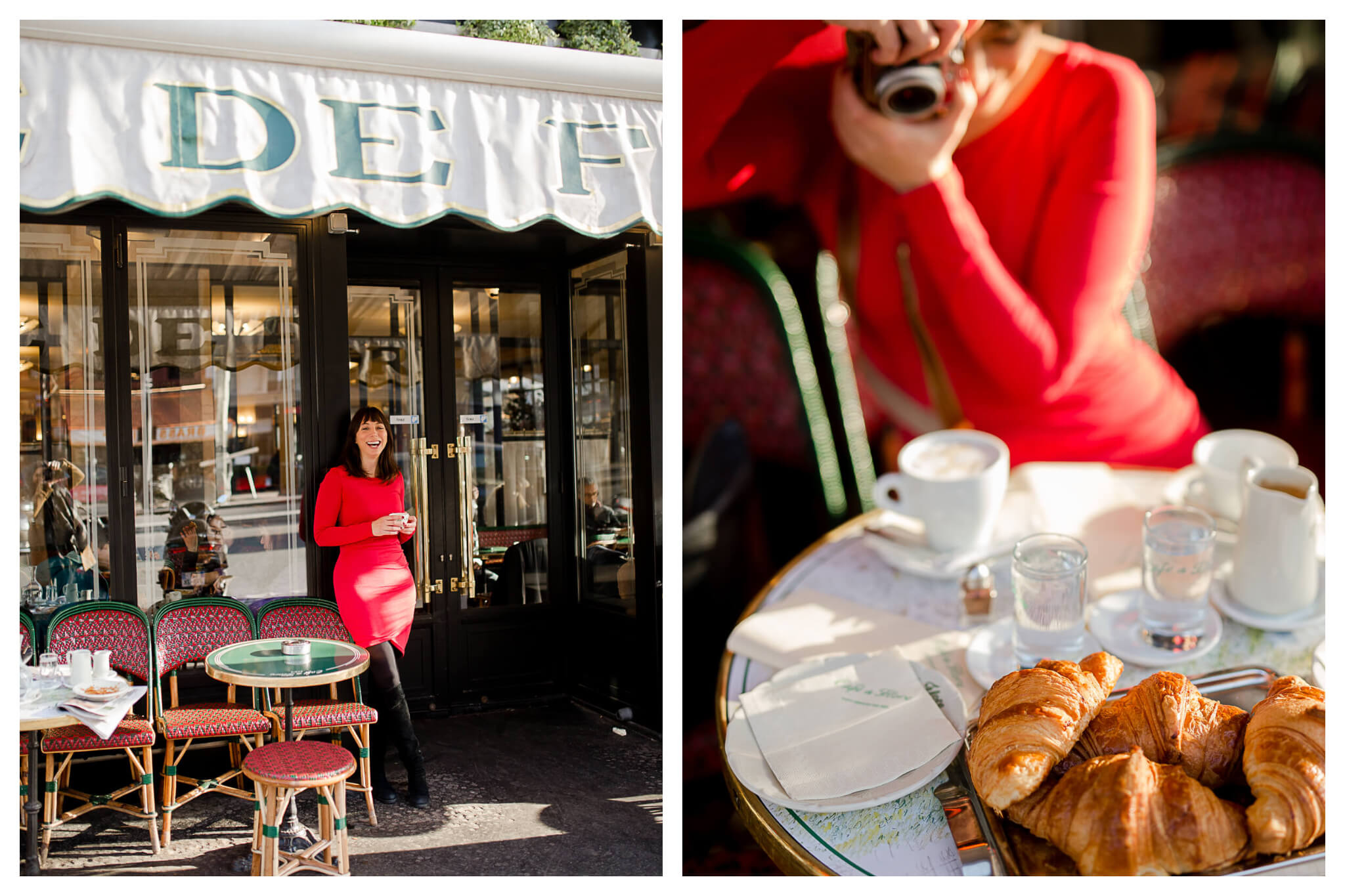 On left: Rebecca Plotnick, travel photographer and founder of the blog Everyday Parisian, smiles under the awning of one of her favorite cafés, Café de Flore, in Paris' Saint-Germain-des-Près neighborhood. on right: Rebecca snaps a photo on a vintage camera of a sumptuous spread of warm croissants and coffee at Café de Flore.