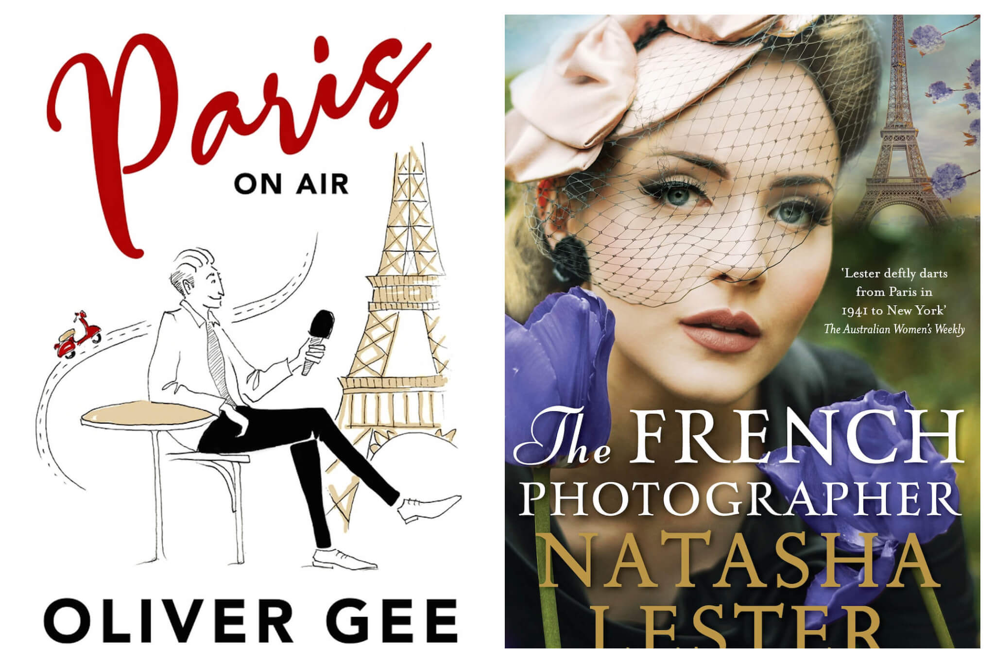 Left: Cover of Paris On Air by Oliver Gee Right: The French Photographer by Natasha Lester