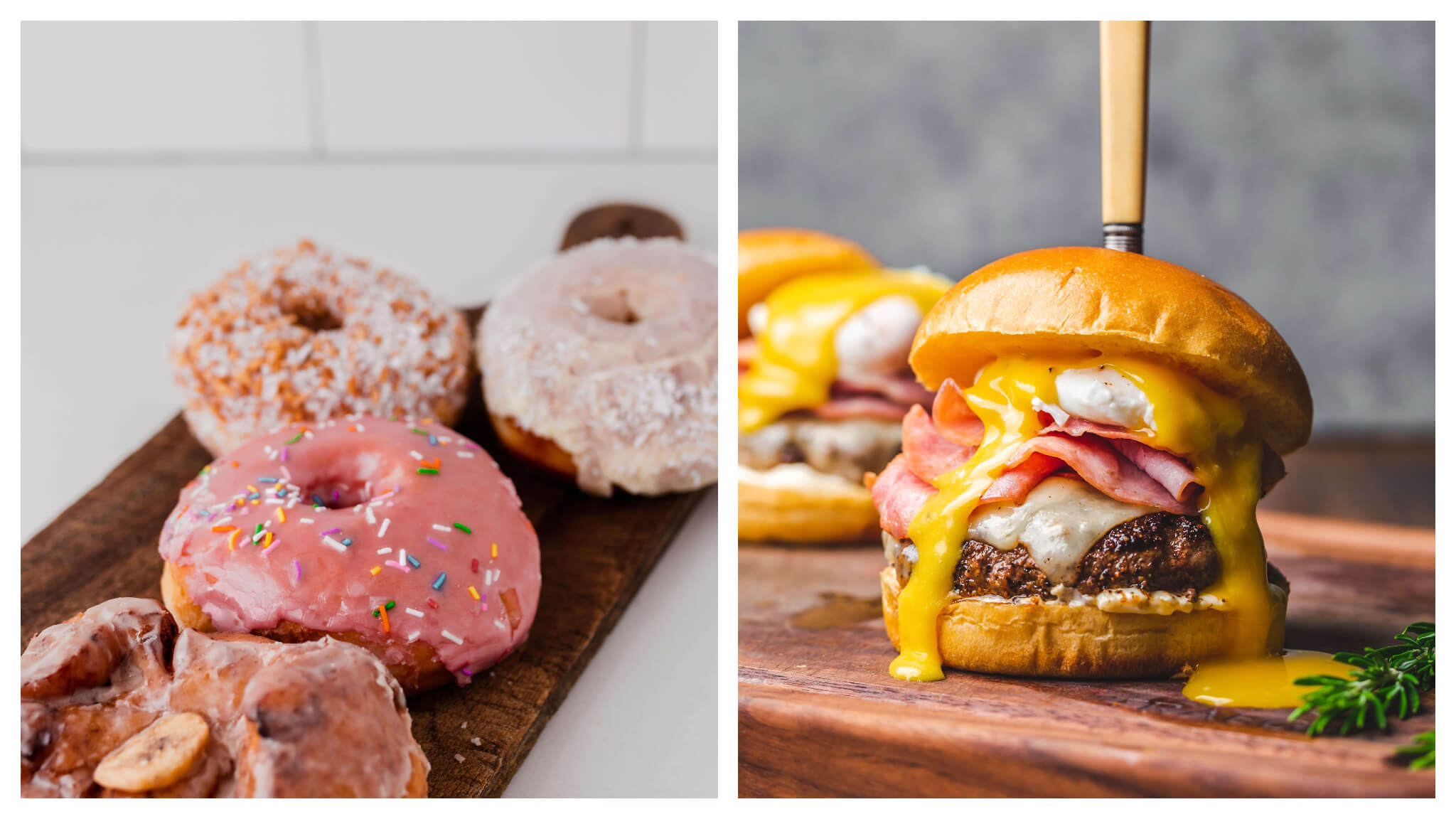 Left, doughnuts covered in pink icing. Right, a burger oozing melted cheese is one of the comfort foods to eat.
