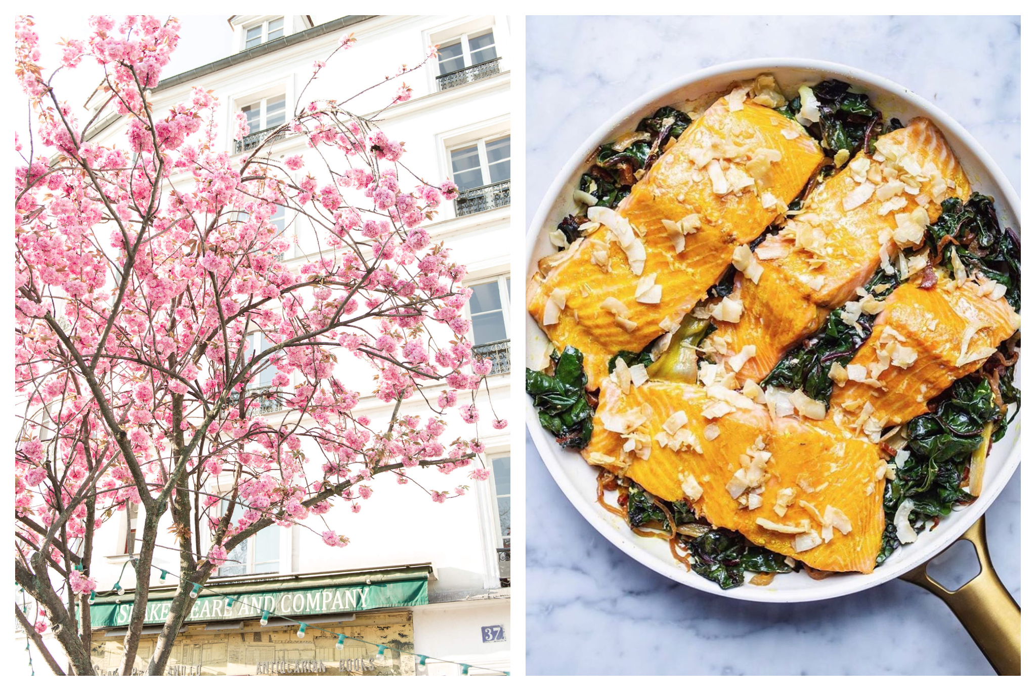 On left: Cherry blossoms bounce by Shakespeare & Co, a famed anglophone bookshop by the Notre Dame Cathedral. On right: Baked salmon with spinach and onions make for a cozy evening meal.
