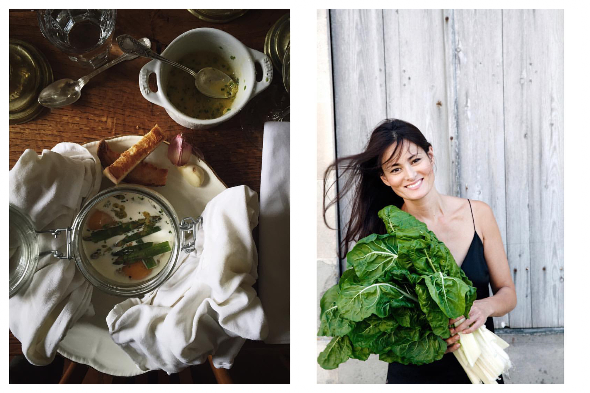 On left: A luscious oeufs en cocotte - baked eggs - with asparagus wait to be dunked by freshly toasted bread. On right: A portrait of Mimi Thorisson, the founder of the popular eponymous food blog. She resides in the Médoc region of France, hosting workshops, writing cookbooks, and wrangling her large family.