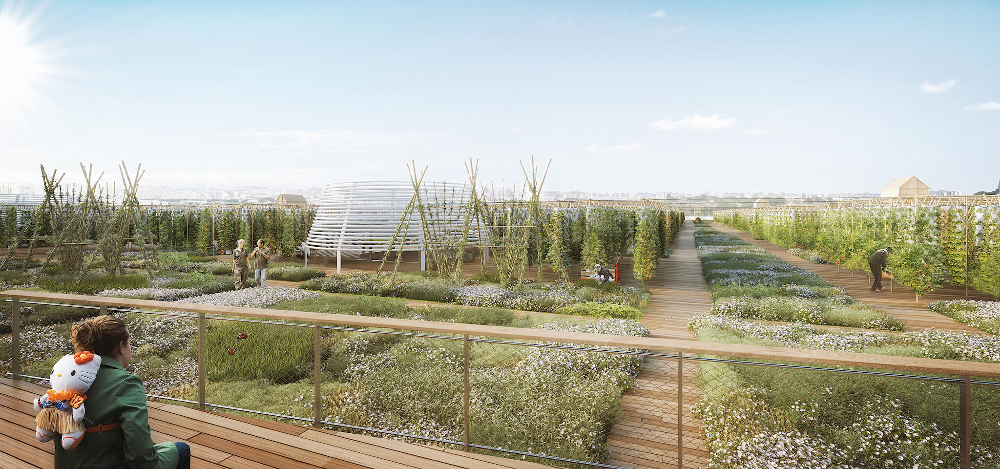 Blue skies and sunshine over Agripolis, Europe's largest rooftop green space located at the Porte de Versailles in Paris.