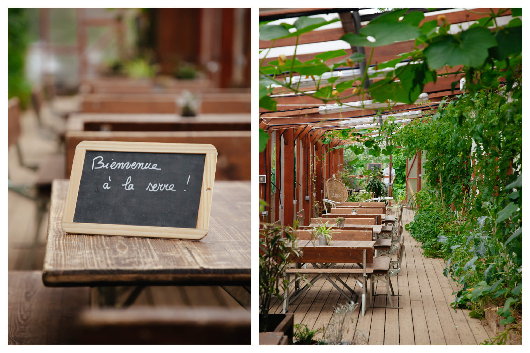 On left: A rustic chalkboard sign welcomes visitors to the greenhouse of La REcyclerie in Paris' 18th arrondissement. On right: Empty farm tables await in the greenhouse of La REcyclerie.