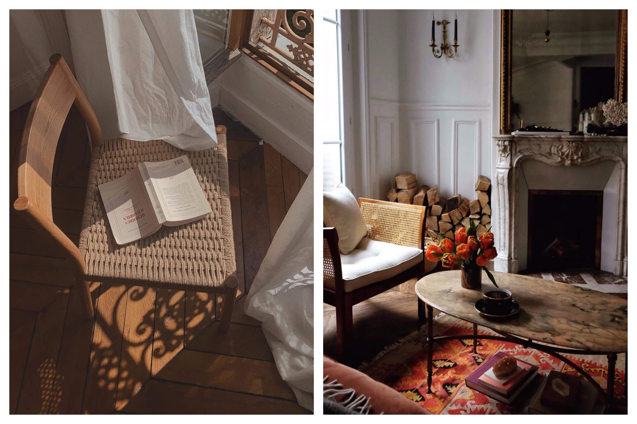 Left, a chair with a book on it in the sunshine as we all stay in during the Coronavirus. Right, Parisian interiors with a gorgeous fireplace.