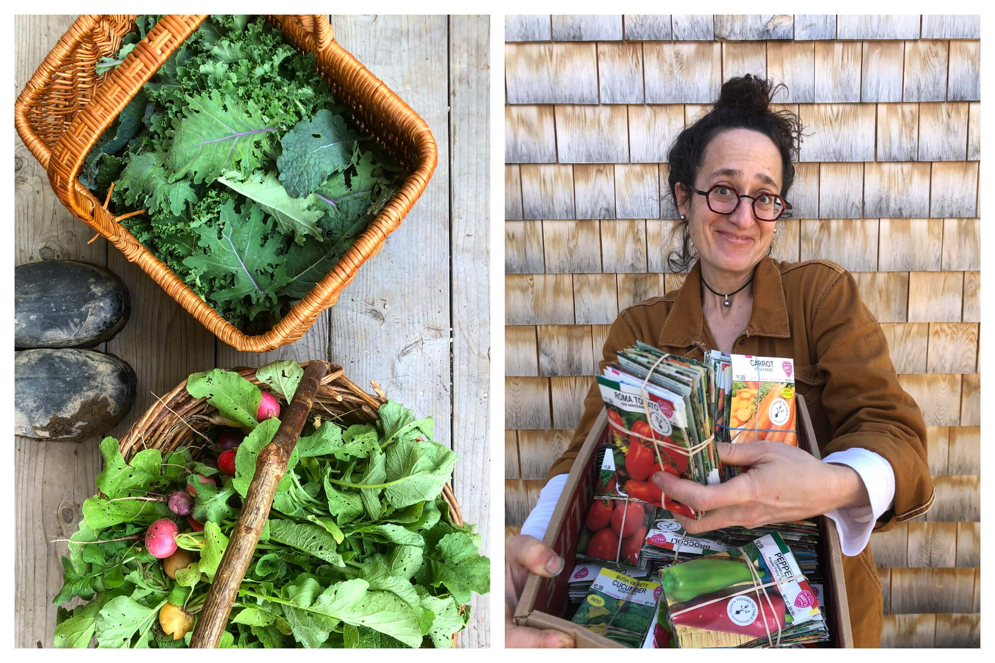 Left: A pair of muddy boots next to two baskets of fresh produce picked from a garden, including kale and radishes, Right: Erica Berman, founder of both HiP Paris and Veggies to Table, hold 1100 seed packets she is about to donate to pantries so people can grow their own gardens.