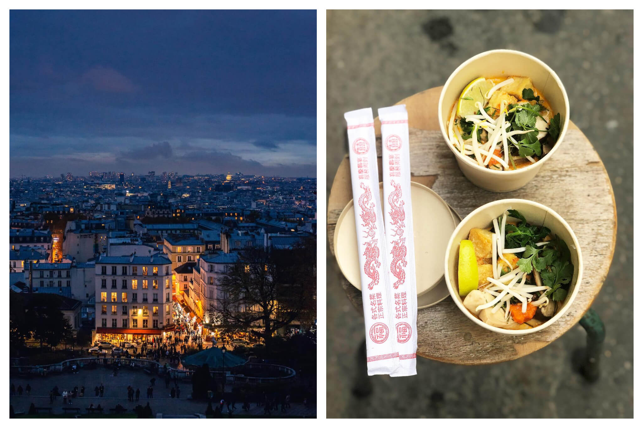 Left: A view of the bottom of Montmartre is visible under the blue and purple tones of dusk, bright orange light illuminates from the buildings and street in the middle of the photo, Right: Two pairs of chopsticks and bowls of Southeast-Asian food from The Hood in Paris sit on a wooden stool.