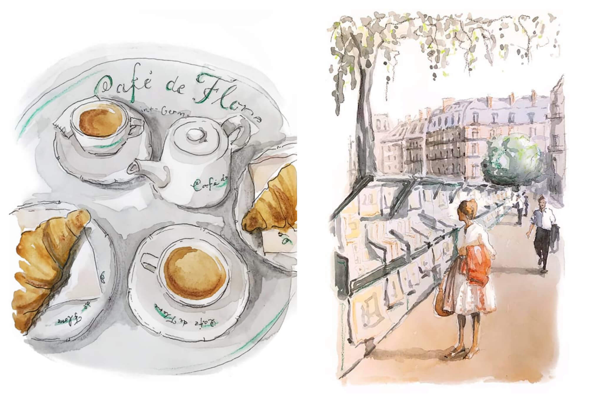 Left: A watercolor image of coffee and croissants on a table at the famous Café de Flore in Paris, Right: A watercolor image of a woman in a white dress looking at the paintings which line the Seine in the middle of Paris.