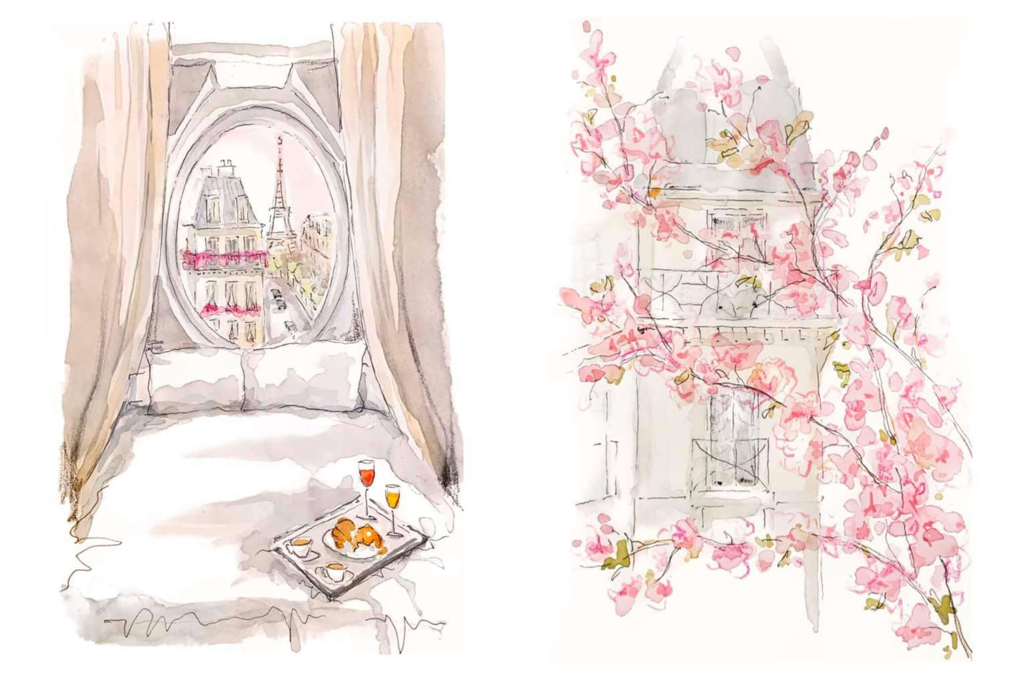 Left: A watercolor of a room in Paris-- in the forefront of the painting is a bed and a tray of croissants, coffee and drinks. In the background is a window with a view of the Eiffel Tower, Right: A watercolor of a Parisian building, in front of it a blooming cherry blossom tree.