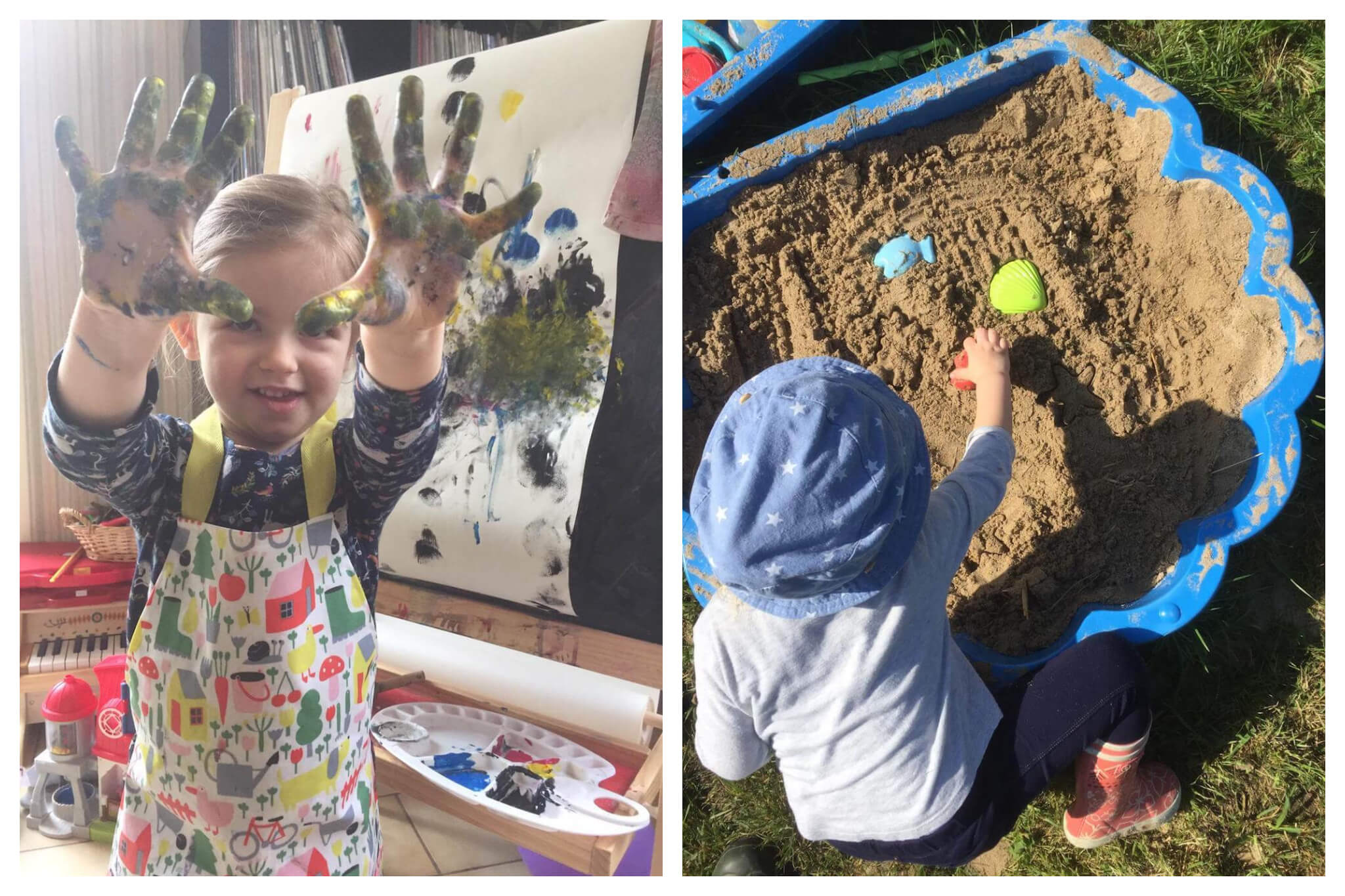 Left: Emily's daughter shows the camera her pain-covered hands, behind her a painting she has just created. Right: Emily's daughter plays in the sandbox in their garden on a sunny day during lockdown.