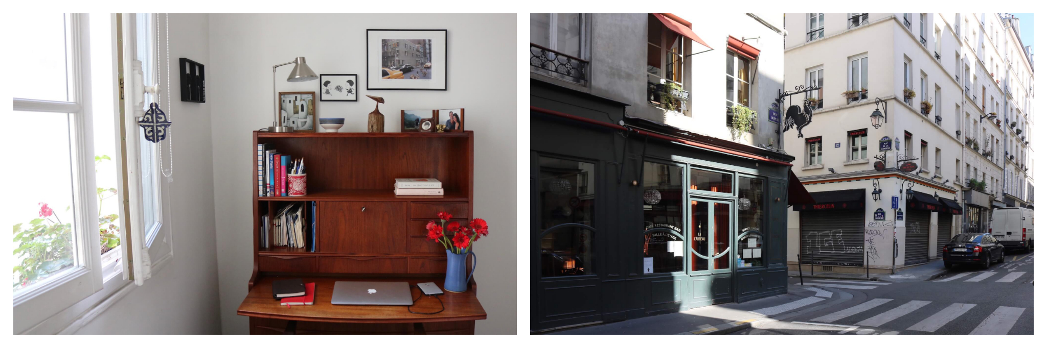 Left: Kasia's desk, filled with books, flowers and a laptop, where she has been working from home during the lockdown. Right: An empty street in Paris lined with non-essential businesses which have temporarily closed during the lockdown.