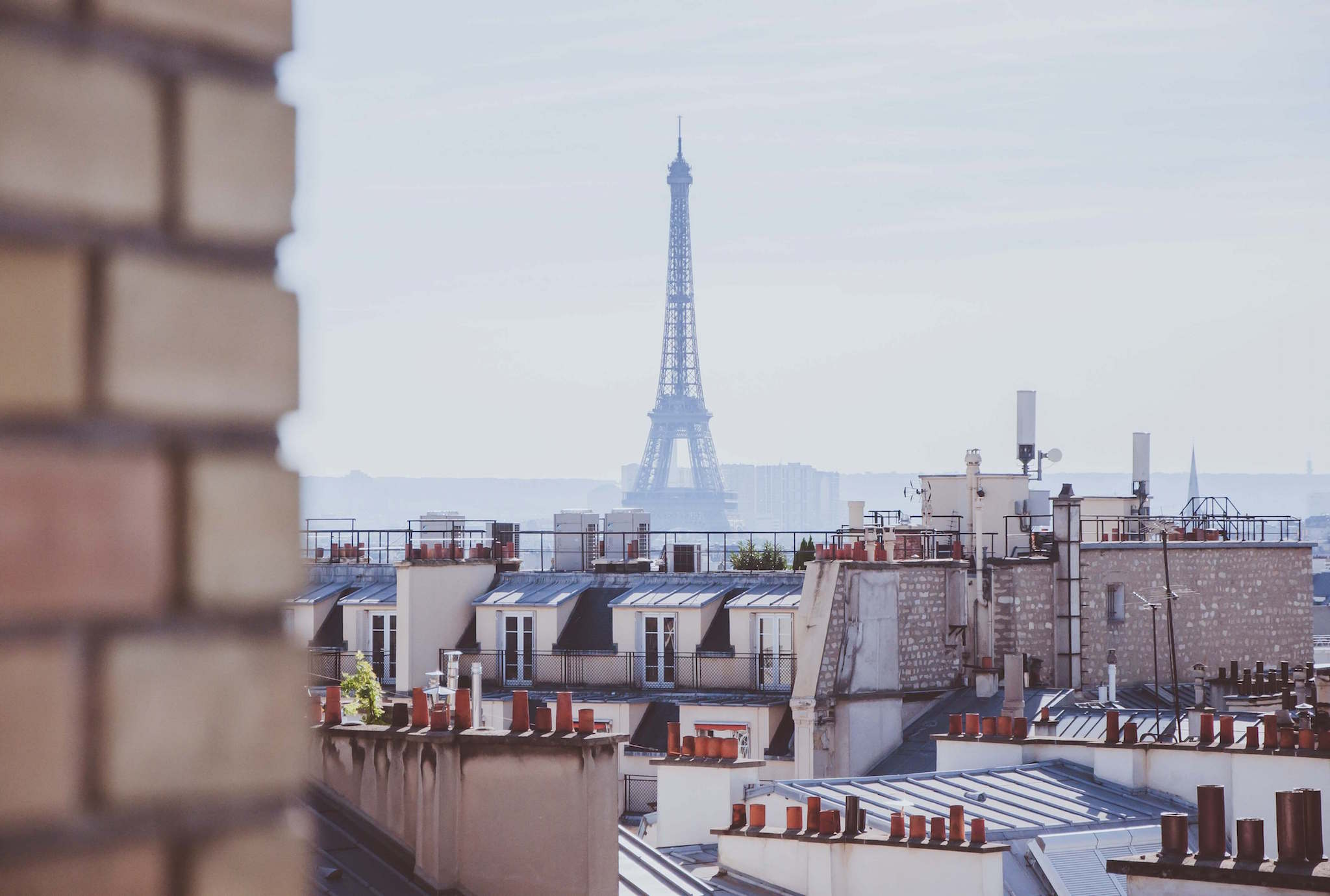The Eiffel Tower can be seen in the hazy distance, and sunny Parisian rooftops can be seen in the forefront.