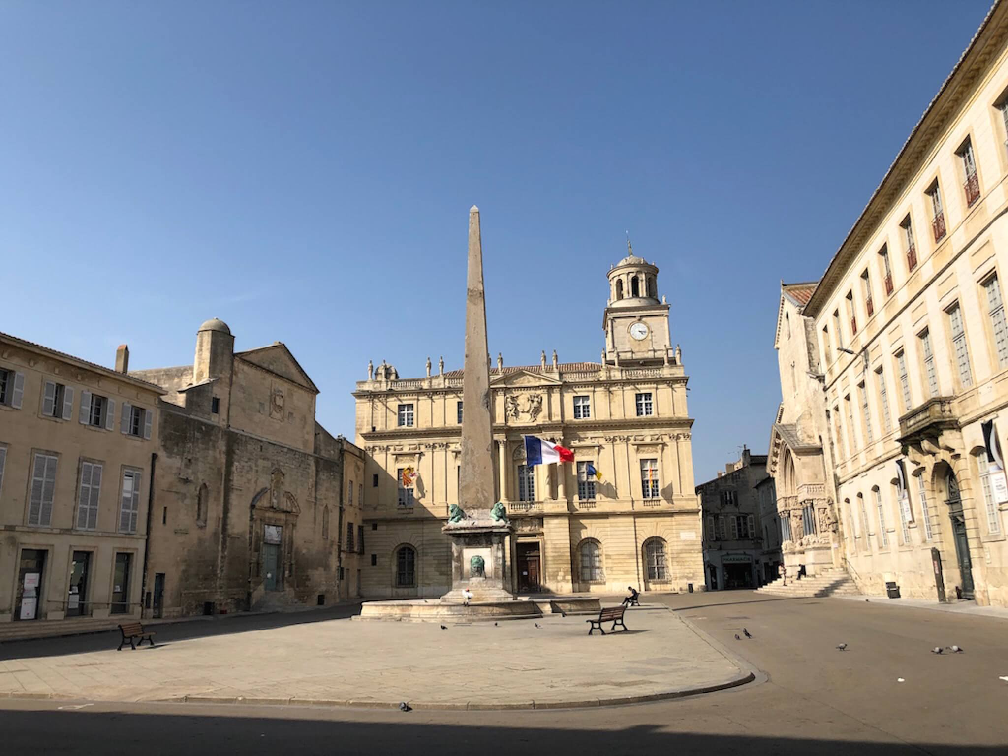 A sunny square in Arles, France