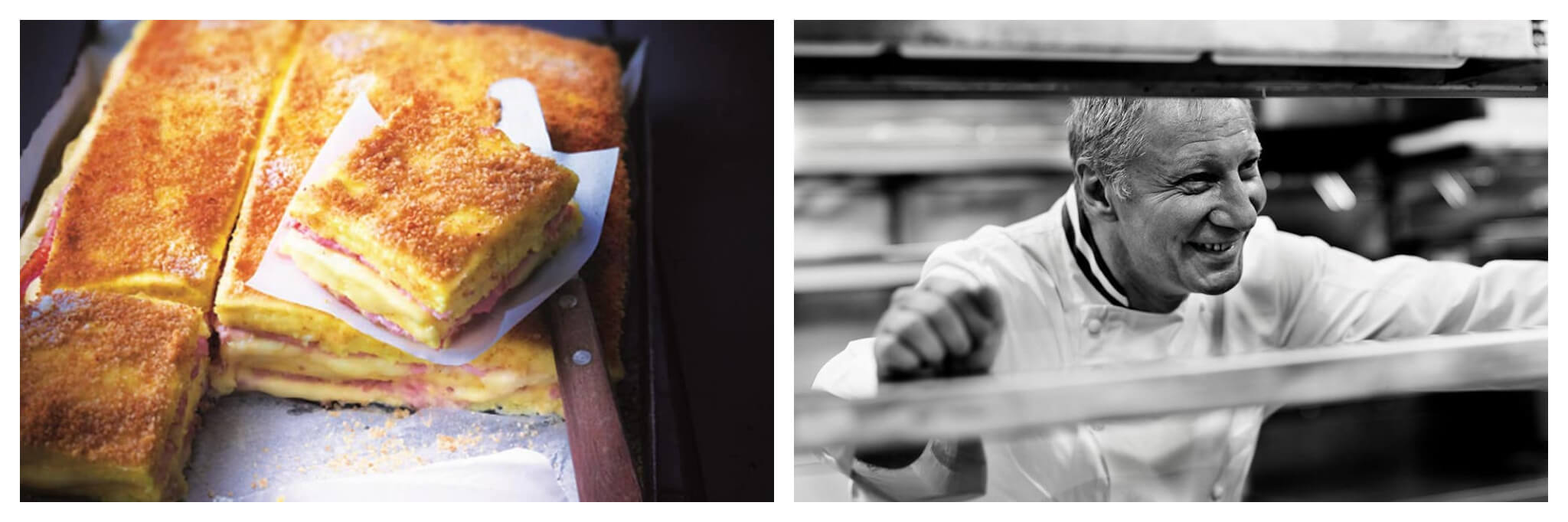 Left: A slice of Eric Frechon's delicious ham and cheese croque monsieur has been sliced and prepared to be served; underneath it are a knife and more croque monsieurs. Right: A black and white photo of Michelin-Star chef Eric Frechon, smiling in a restaurant kitchen.