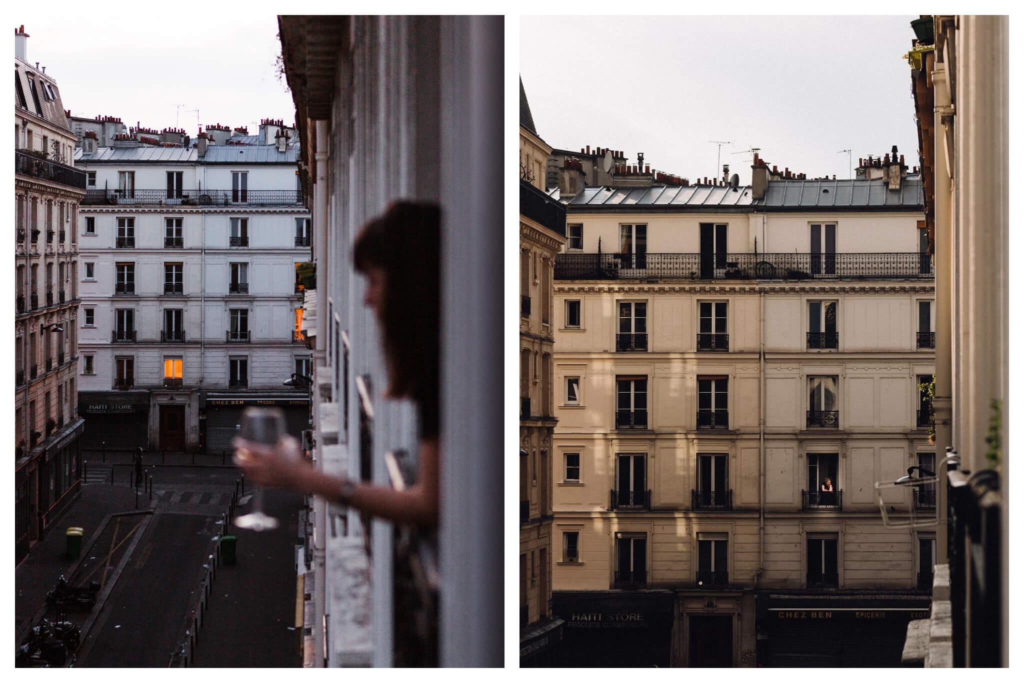 Left: A woman, out of focus, leans out her window holding a glass of wine in the evening; behind her, Parisian apartments are visible, Right: Light reflects on Parisian apartments on a sunny afternoon.