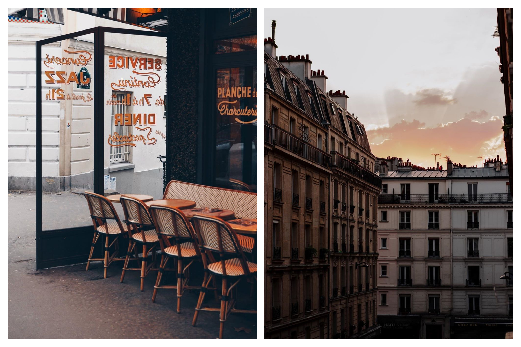 Left: Empty tables and chairs sit outside a closed cafe in Paris admist the lockdown in France; Yellow writing can be seen on the windows. Right: The sun sets over beautiful Haussmann-style apartments in Paris in the late evening.