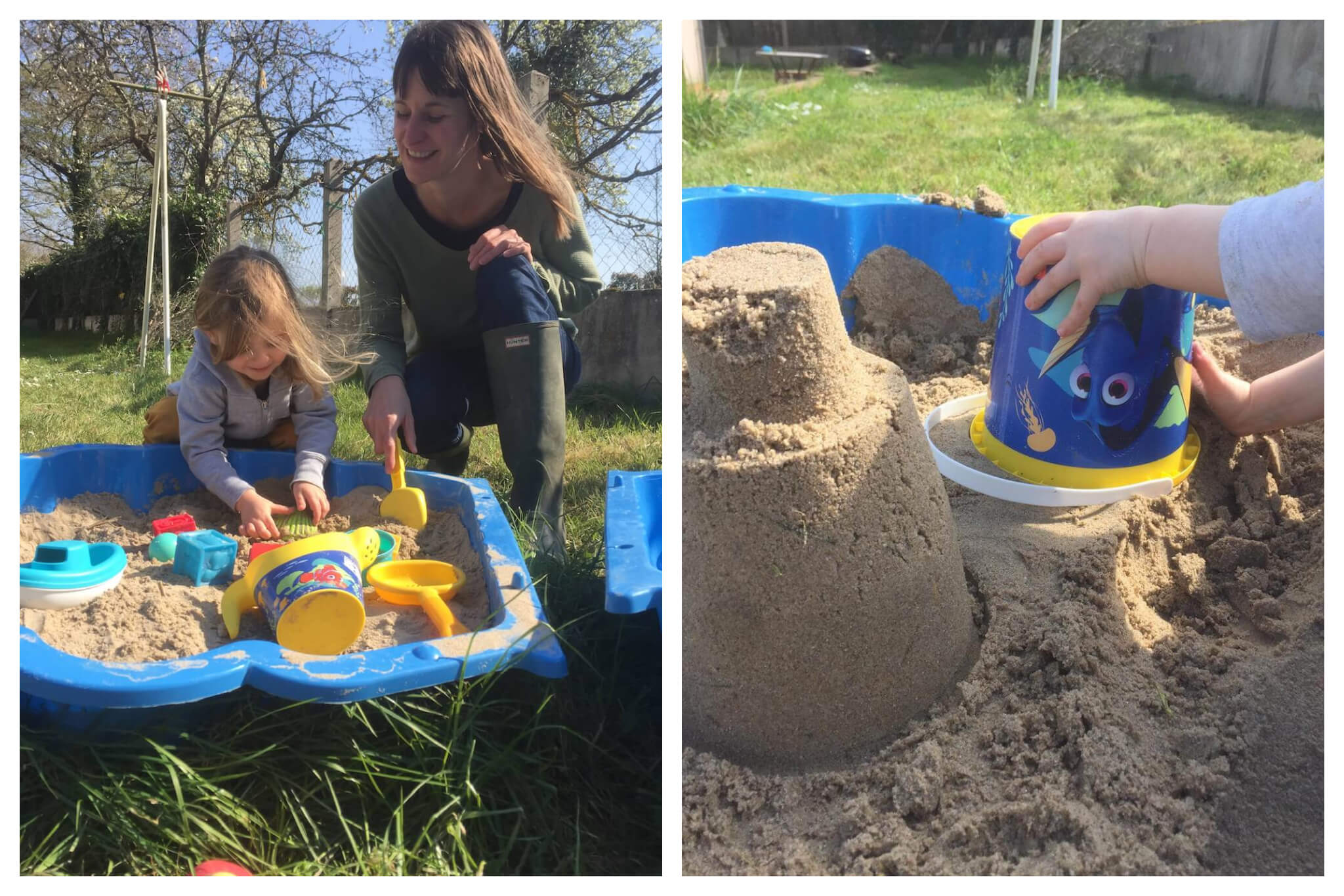Left: Emily Dilling plays in the sandbox in their garden at home with her daughter. Right: Emily's daughter makes sandcastles with a bucket, on which there is an image of Dory from Finding Nemo.