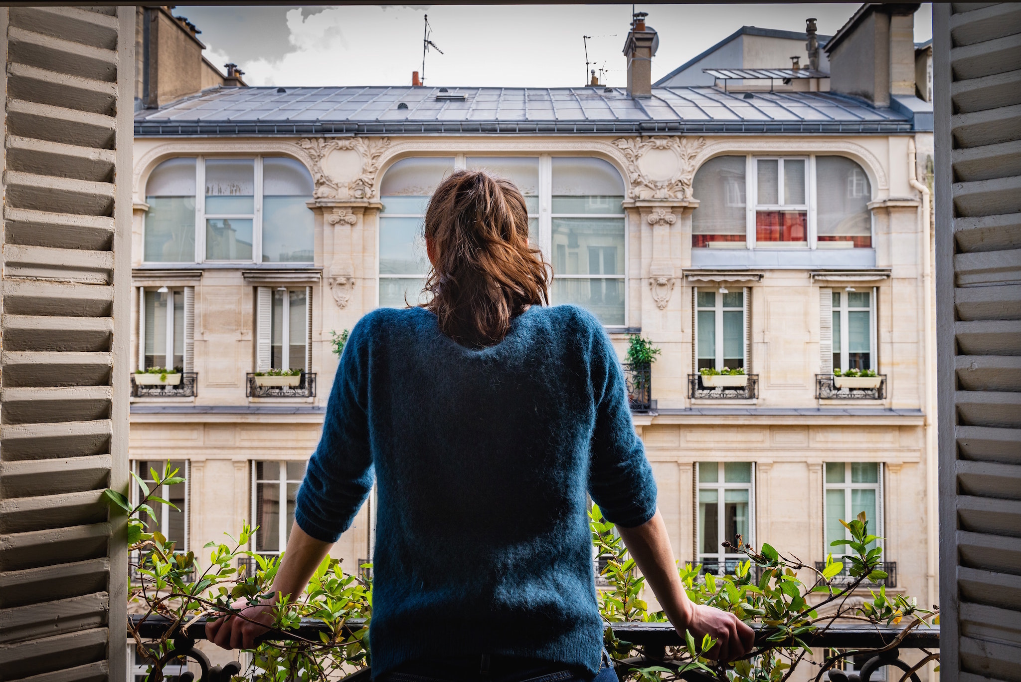A woman, wearing a blue sweater and her hair in a ponytail, stands at her open window in Paris. In front of her is a planter box of green leaves, and she looks out at the apartment across the way.