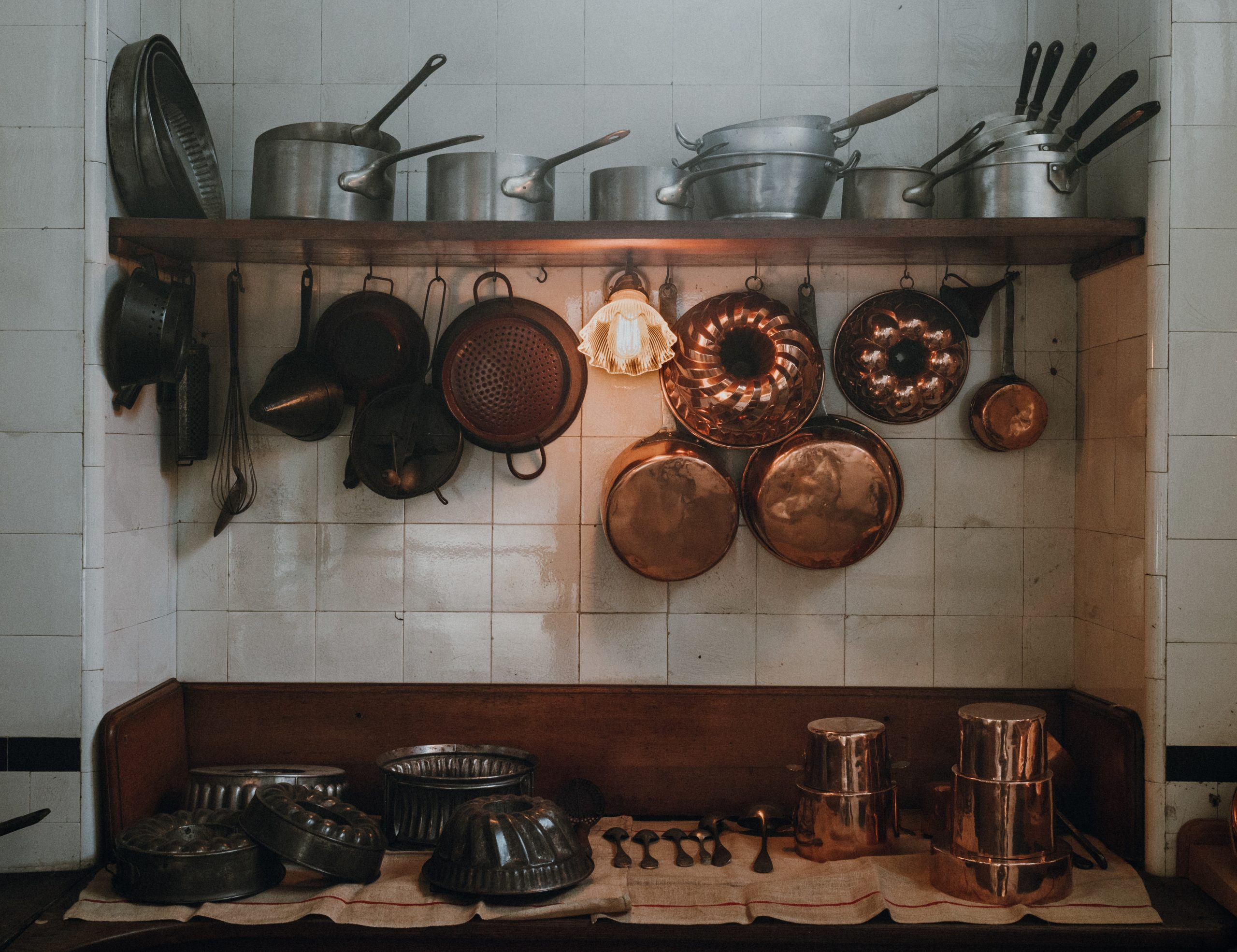 French kitchen with copper pots and pans