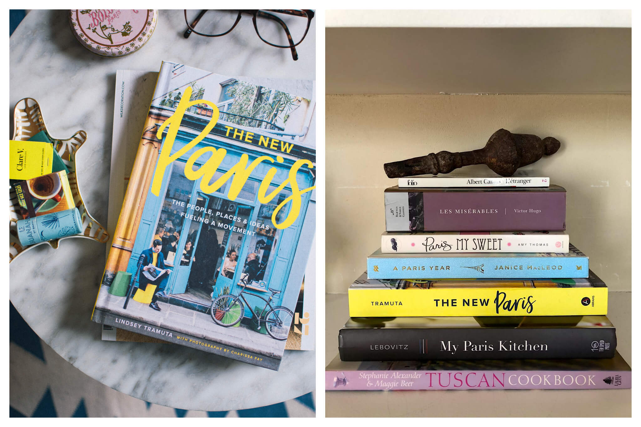 """Left: A book, """"The New Paris"""" by Lindsey Tramuta, sits atop a marble table, Right: A stack of books on a shelf, including books like """"My Paris Kitchen,"""" """"The New Paris,"""" and """"Paris My Sweet"""""""