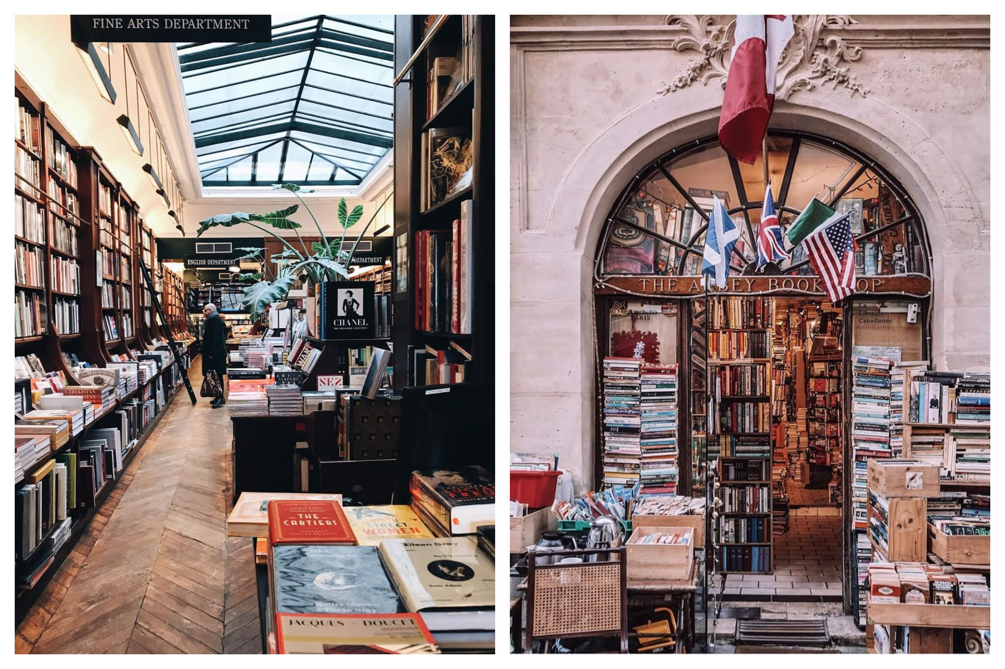 Left: The Galignani bookstore in Paris, with many books on display on the shelves. A man in the background can be seen looking at the books, Right: The front of The Abbey Bookshop in Paris, with multiple flags (including the American and British flag) and boxes of books.