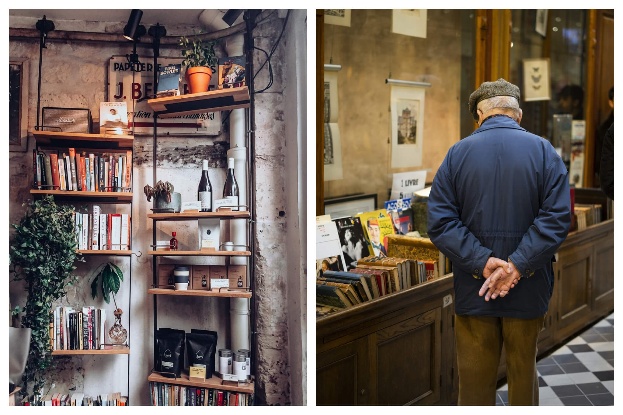 Left: Shelves at the Shakespeare and Co. bookstore in Paris displaying books, bags of coffee, plants and other assorted items, Right: A man in a blue jacket and gray hat walks through a passage in Paris and browses at an assortment of books.