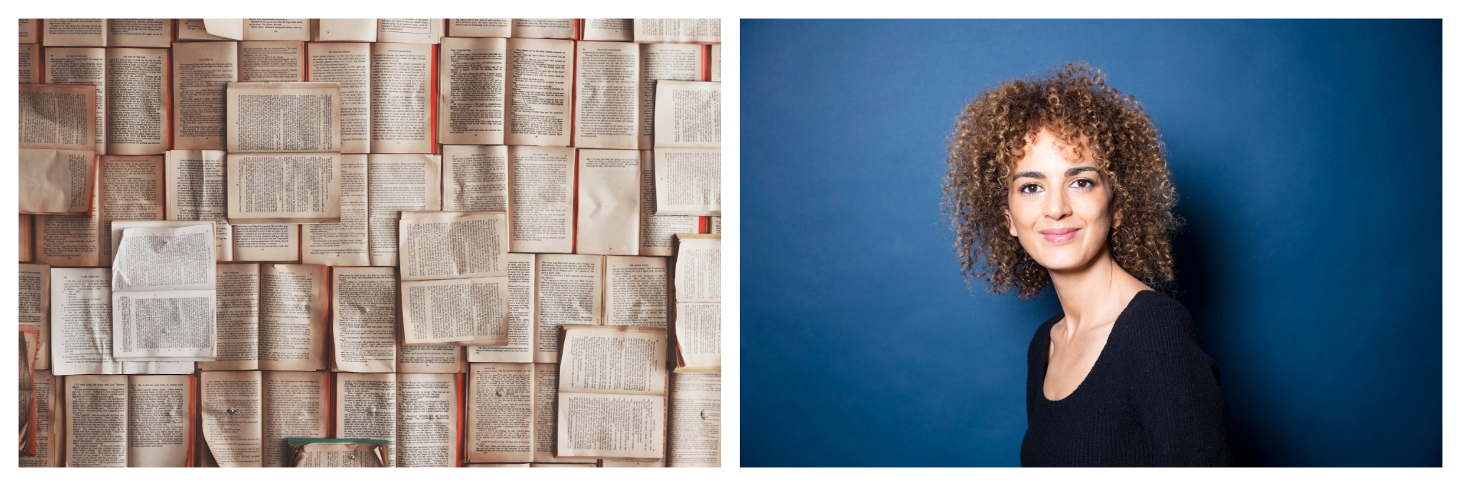 Left: Numerous books are opened and laid atop one another, Right: Leila Slimani stands in a long black sleeve shirt in front of a blue background