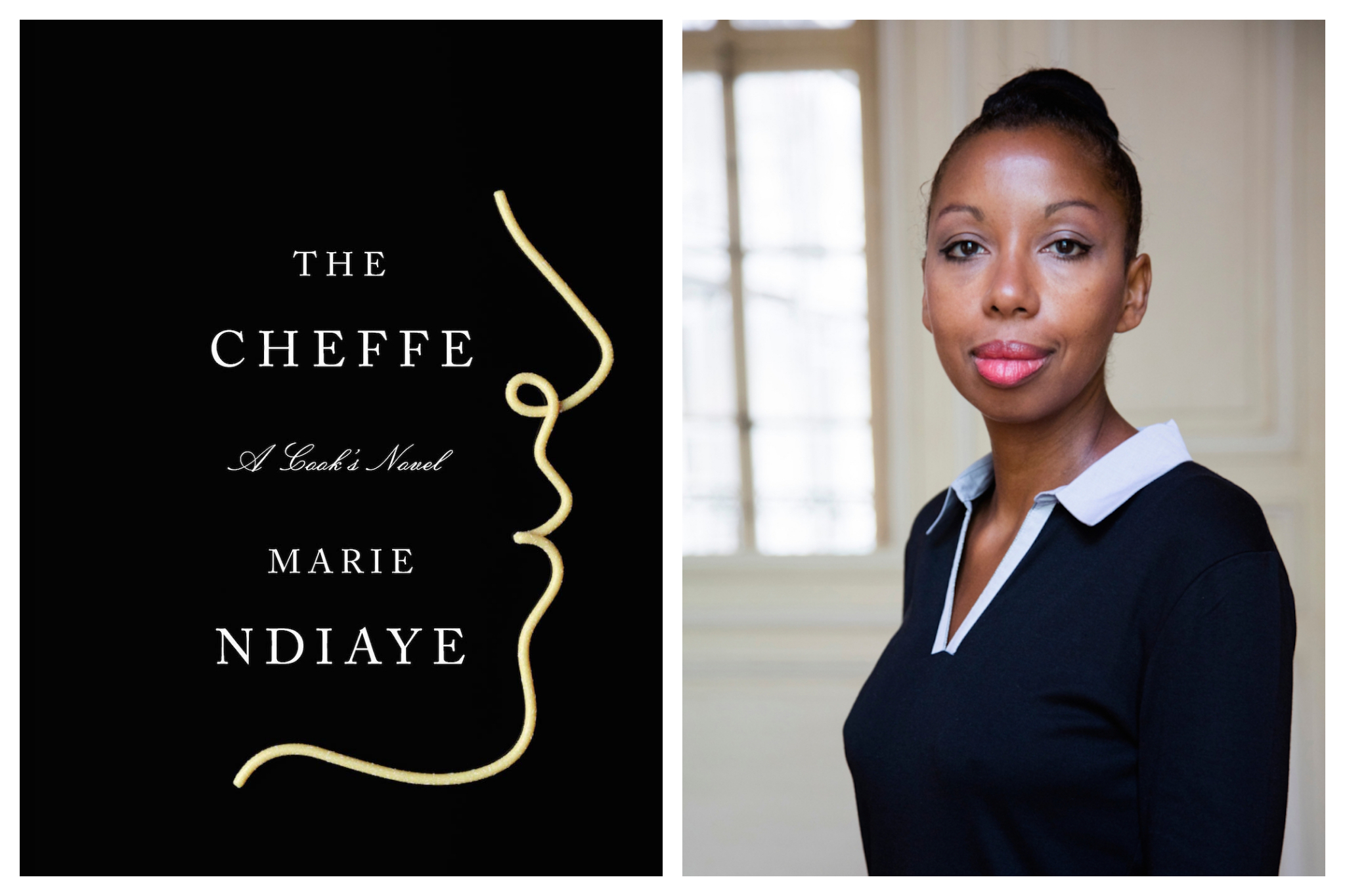 """Left: The cover of Marie NDiaye's book """"The Cheffe,"""" which is black, with the outline of the profile of a face in a light yellow color, Right: A portrait of Marie NDiaye, wearing a long sleeved black shirt with a white collar, as she looks into the camera"""