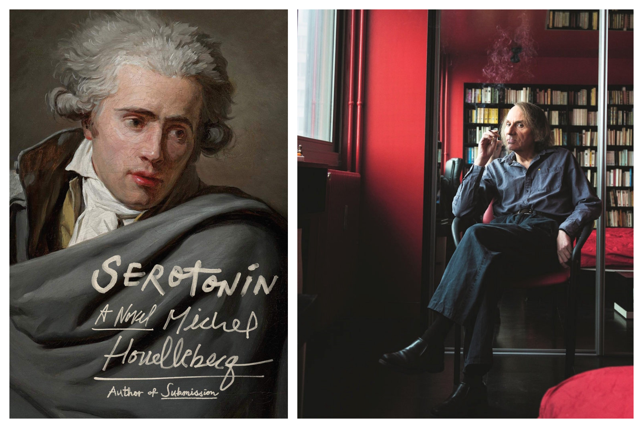 """Left: The cover of Michel Houllebecq's book """"Serotonin,"""" which shows an old painting of a man, Right: Michel Houllebecq, wearing dark clothes, smokes a cigarette while sitting in a chair inside a red room. Behind him is a mirror which reflects  a shelf filled with books."""