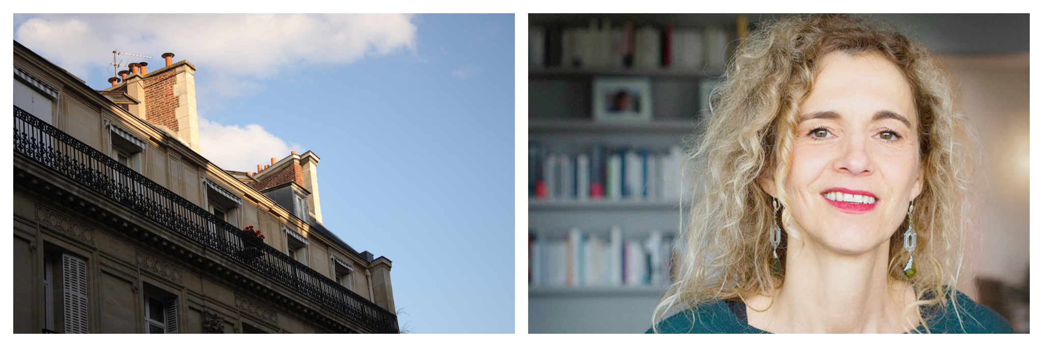 Left: The top of an apartment building in Paris as the sun sets on the roof, blue sky and cloud are visible in the background, Right: A portrait of Delphine de Vigan, wearing a blue shirt and standing in front of a wall of books