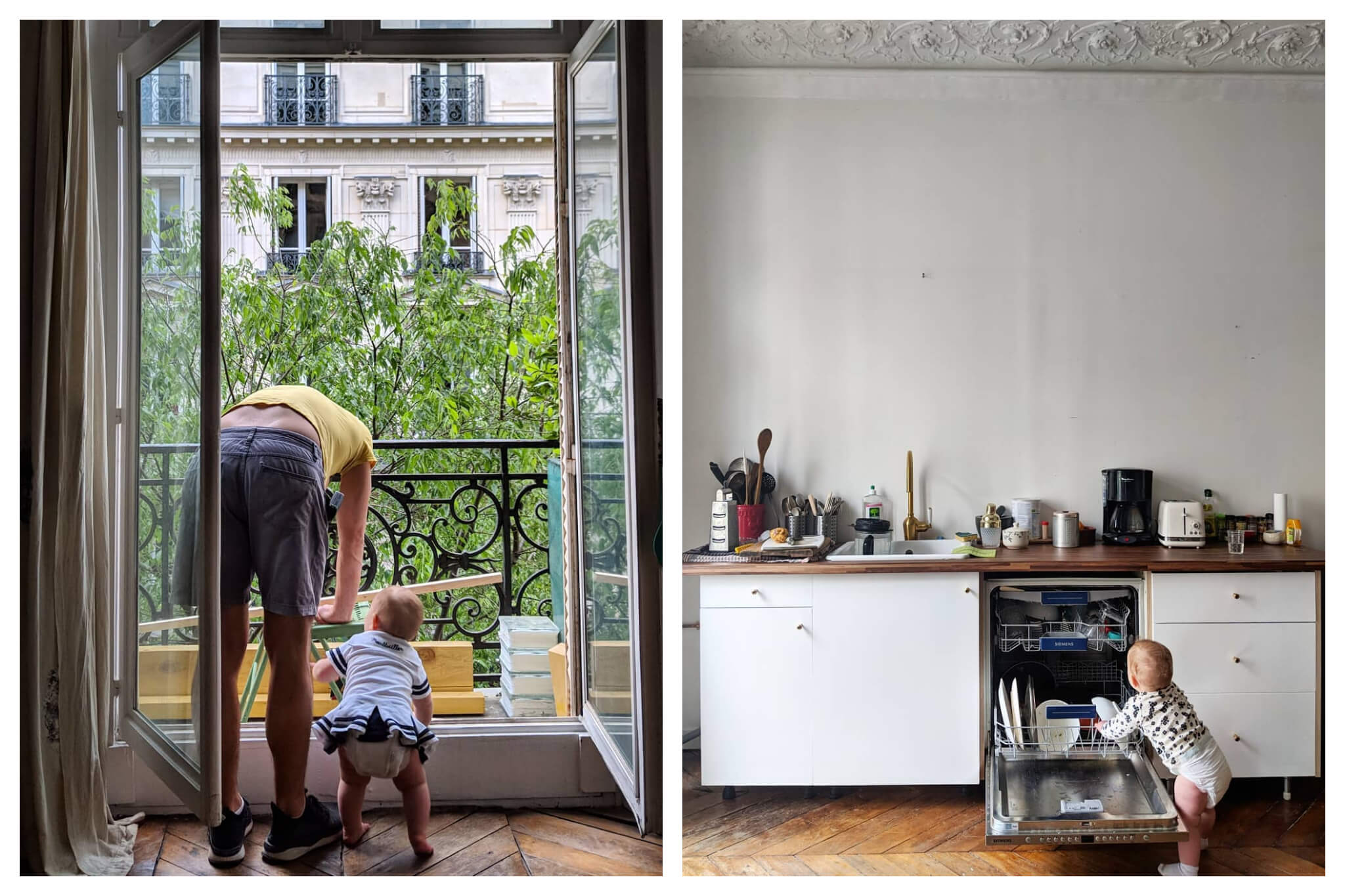 Left: A father and his baby inspect pieces of wood while leaning out onto their balcony in Paris, Right: A baby helps load the dishwasher with dirty dishes.