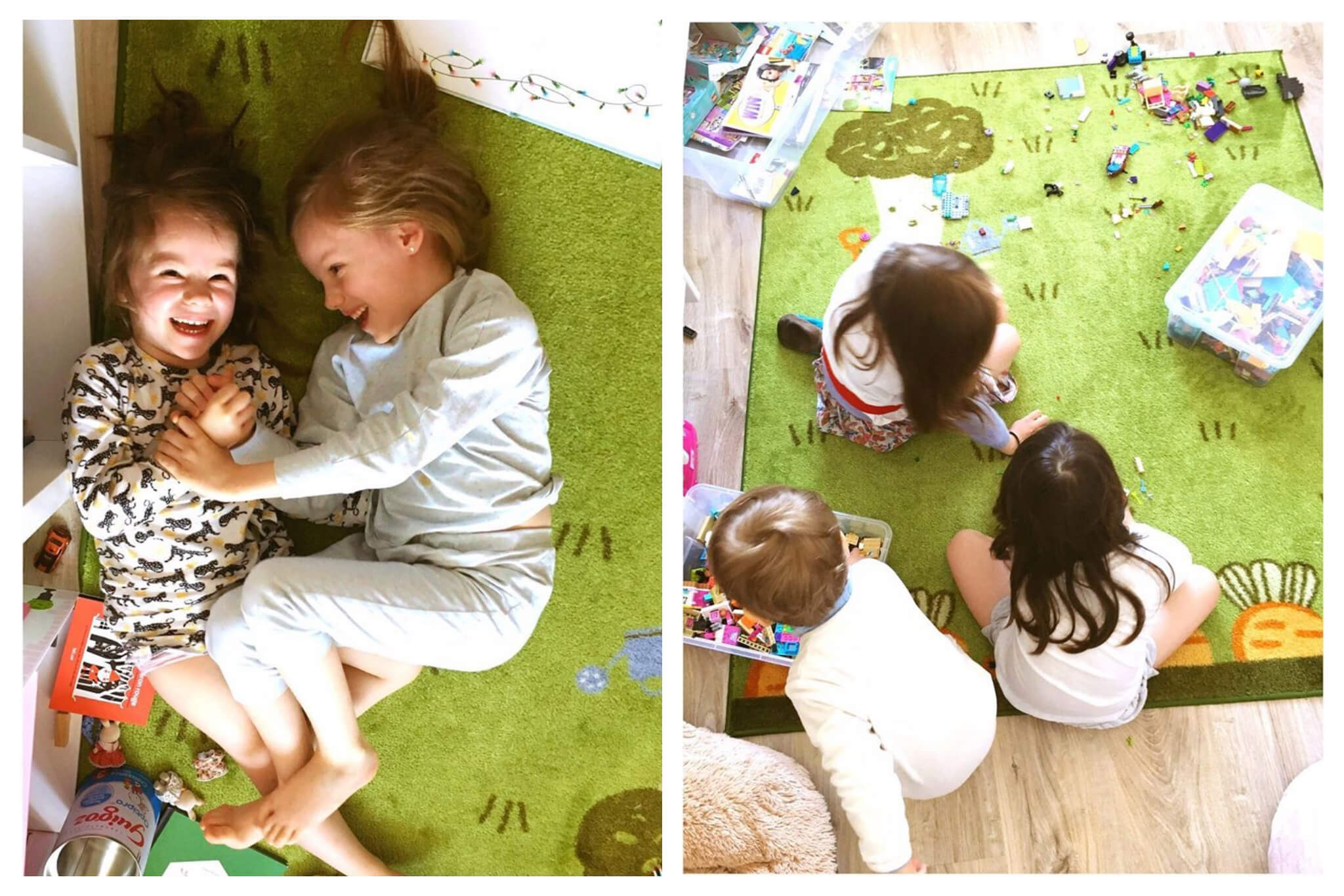 Left: Two children, one brunette and one blonde, smile while playing together atop a green carpet, Right: Three children play with legos atop a green carpet