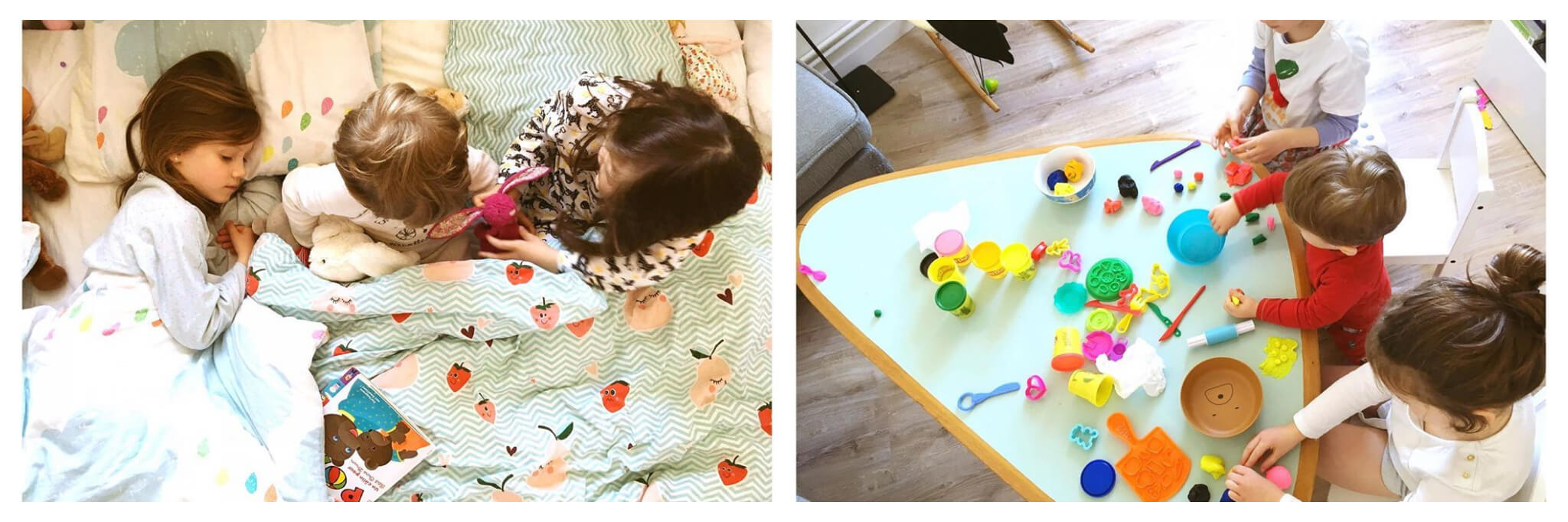 Left: Three children sit and lay in bed under a blue duvet that has a print of pink and red strawberries, Right: Three children play with play-doh and colorful toys on top of a blue table.