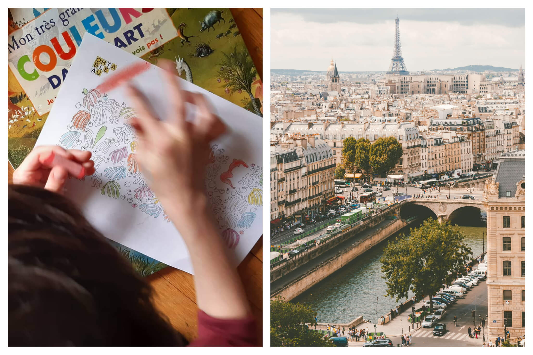 Left: A child uses pastel and their hands to draw on a coloring sheet, Right: A view of the seine, Parisian apartments and Eiffel Tower on a sunny day.