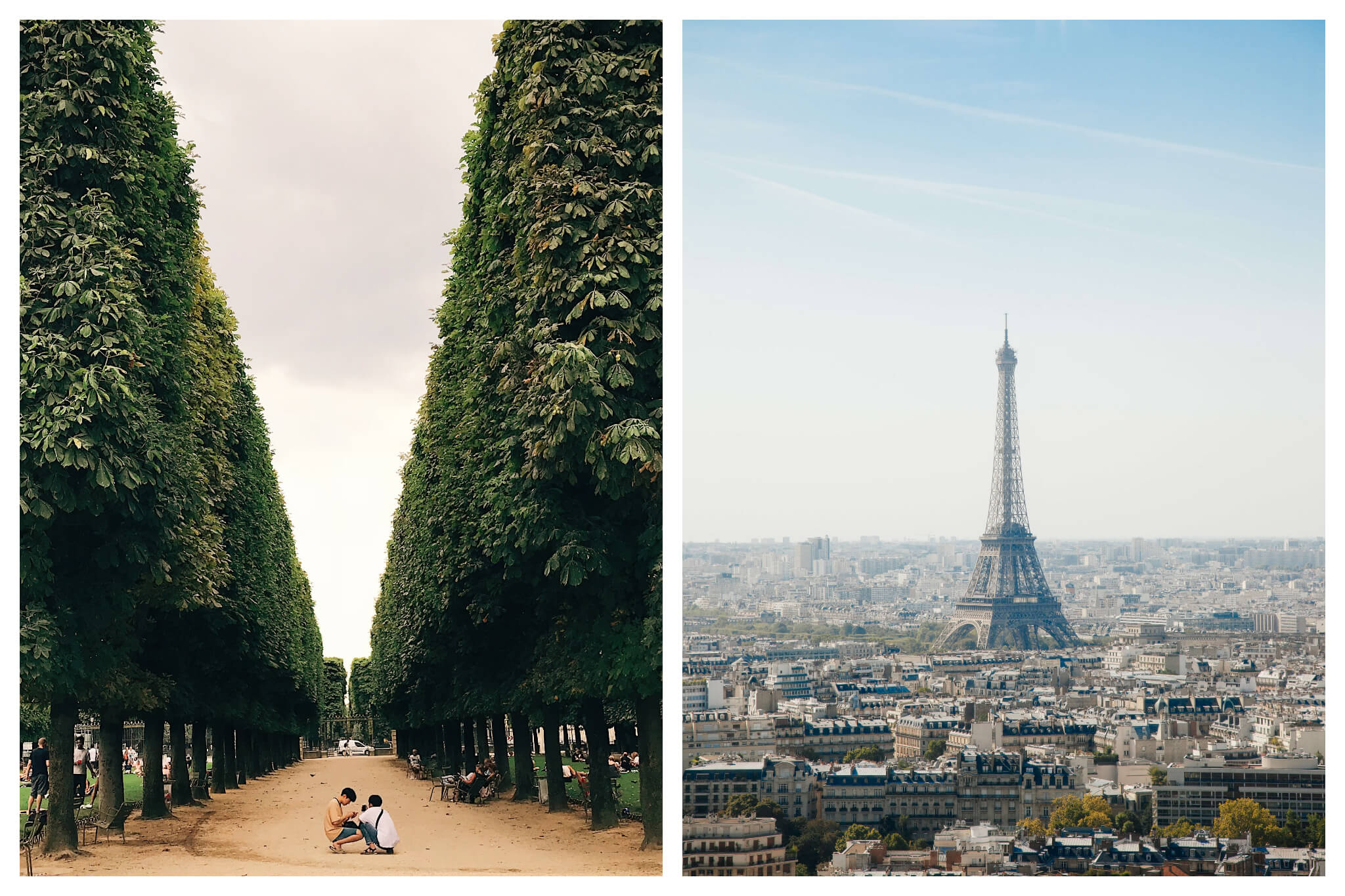 Left: Two children play between rows of tress in a garden in Paris, Right: The Eiffel Tower stands out among Parisian apartment buildings on a sunny day in Paris.